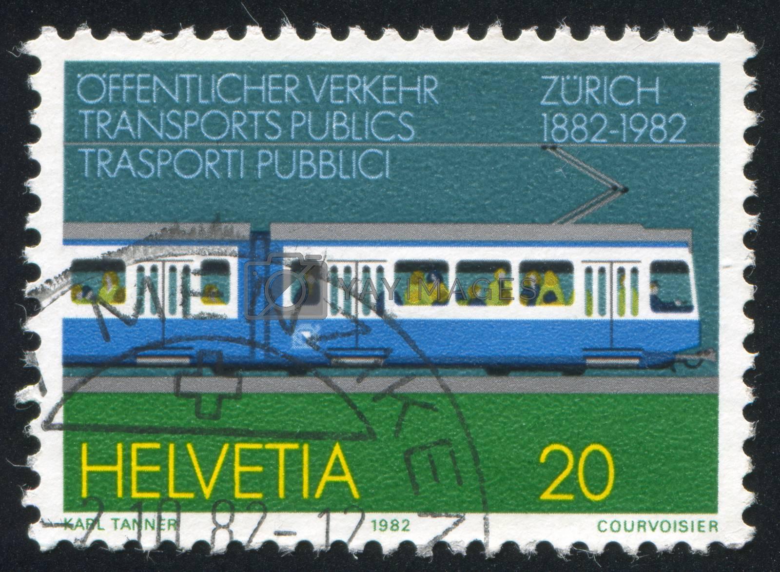 SWITZERLAND - CIRCA 1982: stamp printed by Switzerland, shows Zurich Tram, circa 1982