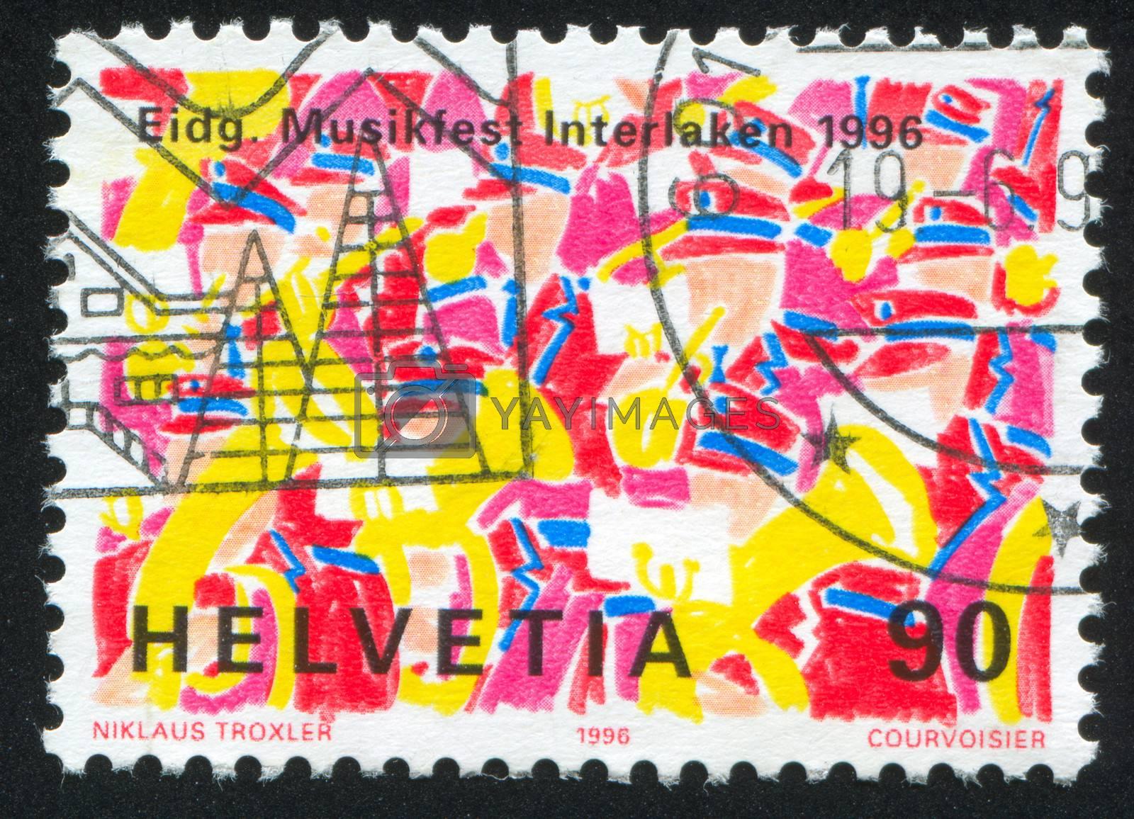 SWITZERLAND - CIRCA 1996: stamp printed by Switzerland, shows Music Festival, circa 1996