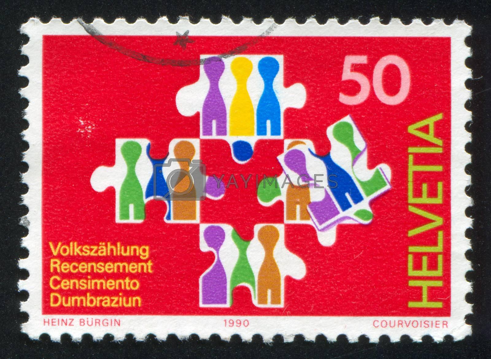SWITZERLAND - CIRCA 1990: stamp printed by Switzerland, shows National Census, circa 1990