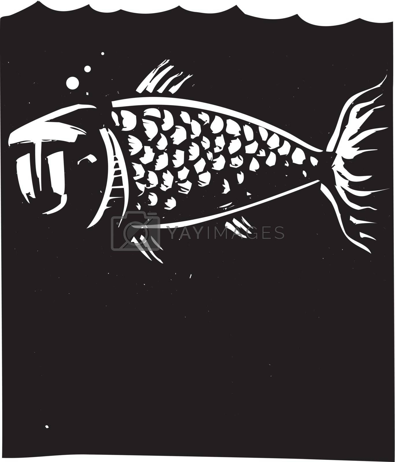 Woodcut style image of a fish with a human face
