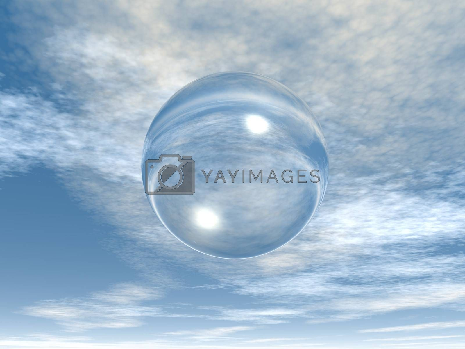 soap bubble in the sky - 3d illustration