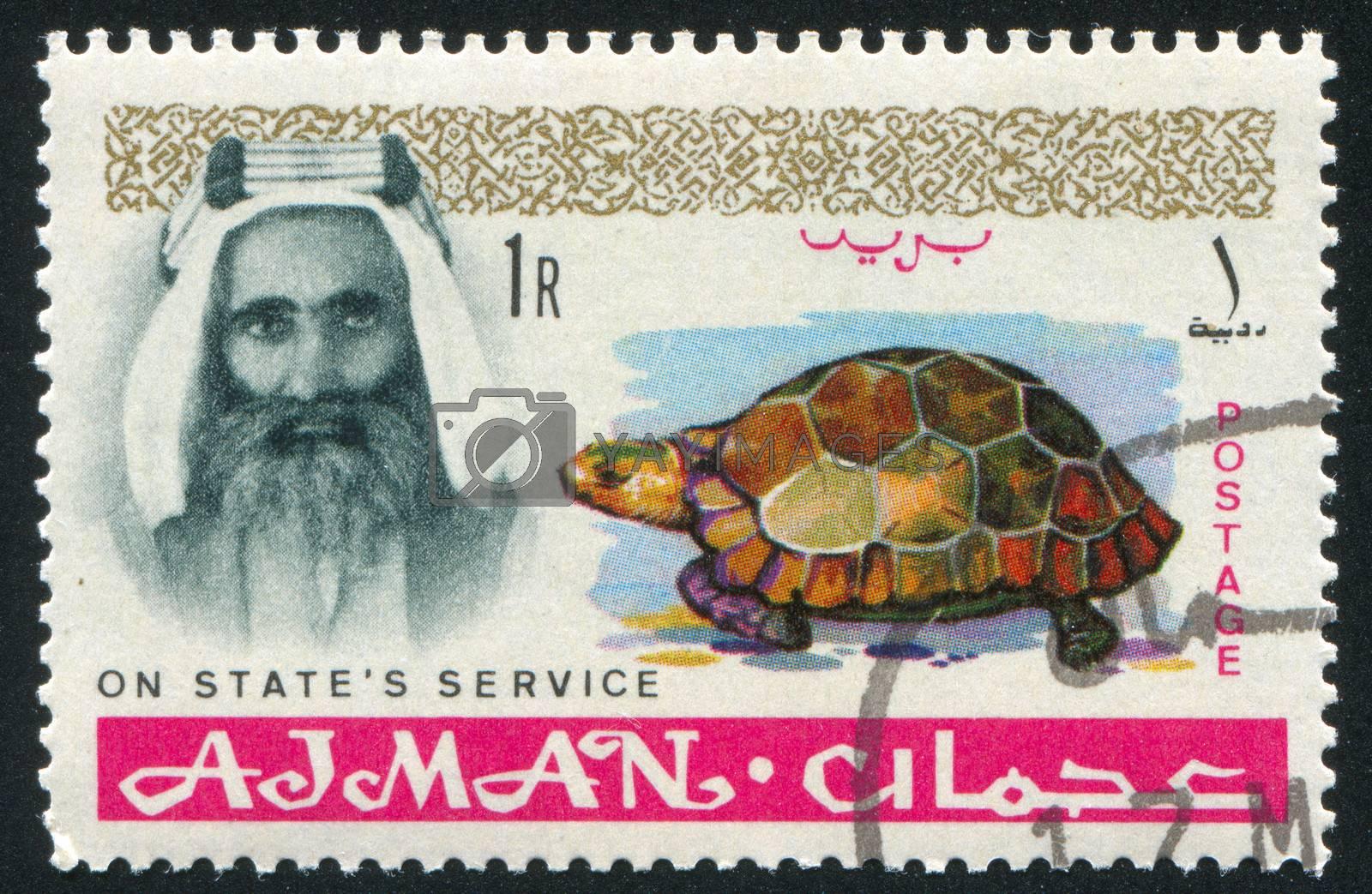 AJMAN - CIRCA 1964: stamp printed by Ajman, shows Sheik Rashid bin Humaid al Naimi and tortoise, circa 1964