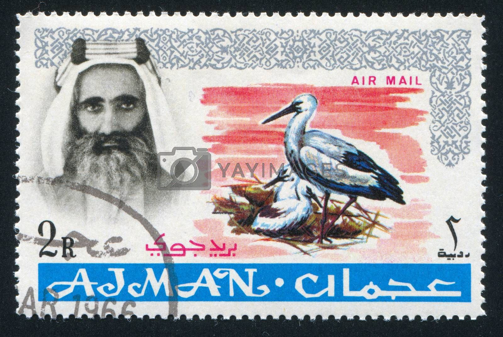 AJMAN - CIRCA 1964: stamp printed by Ajman, shows Sheik Rashid bin Humaid al Naimi and heron, circa 1964