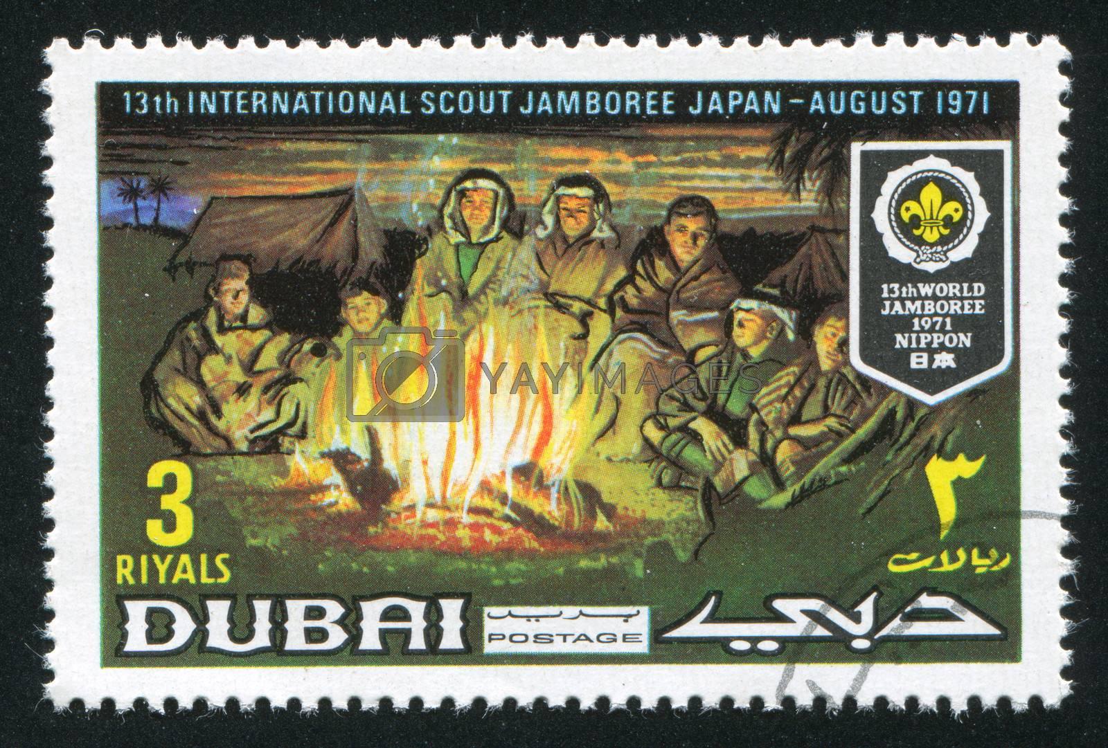 DUBAI - CIRCA 1971: stamp printed by Dubai, shows Jamboree, circa 1971