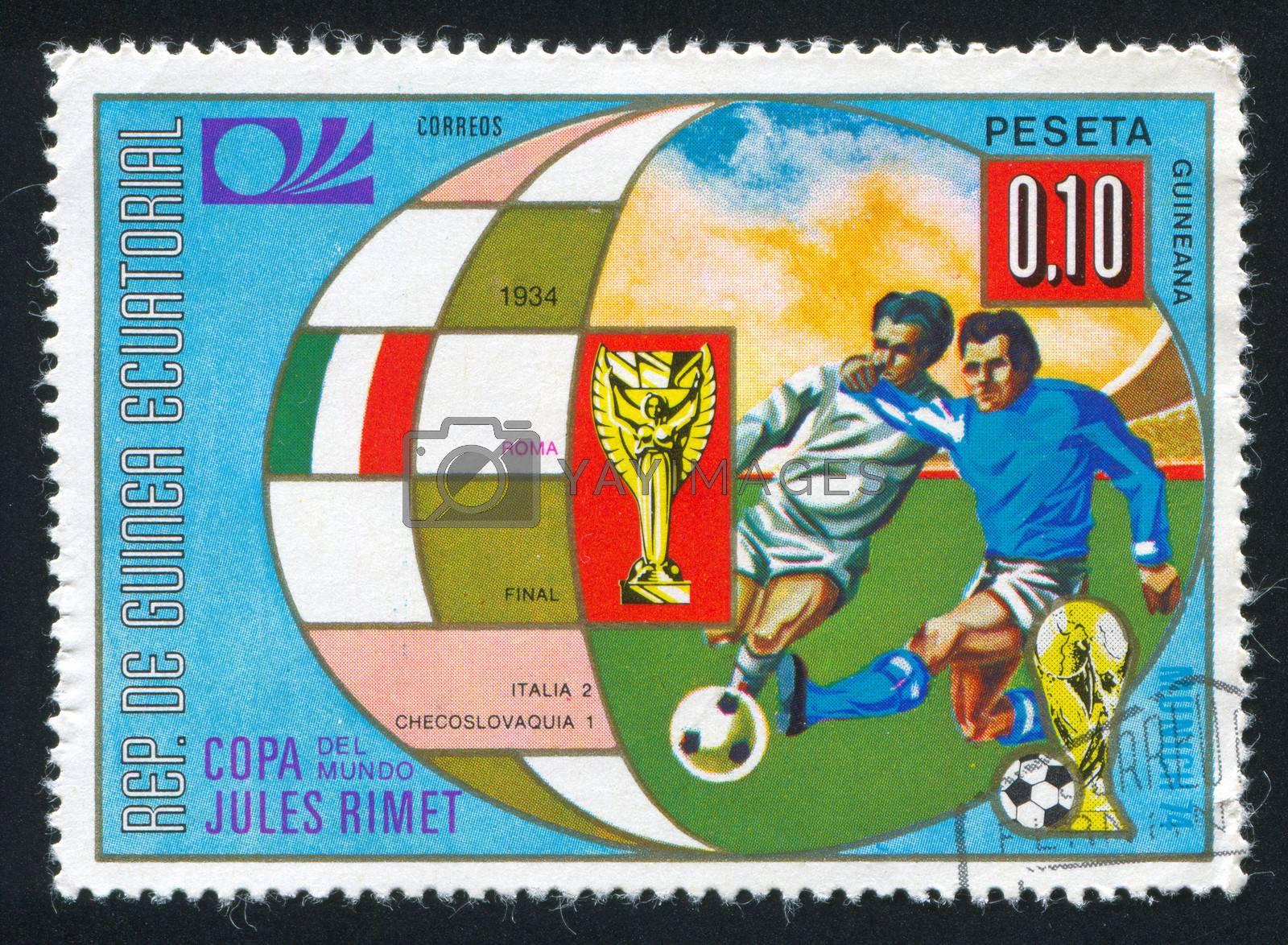 EQUATORIAL GUINEA - CIRCA 1974:  stamp printed by Equatorial Guinea, shows soccer, circa 1974.