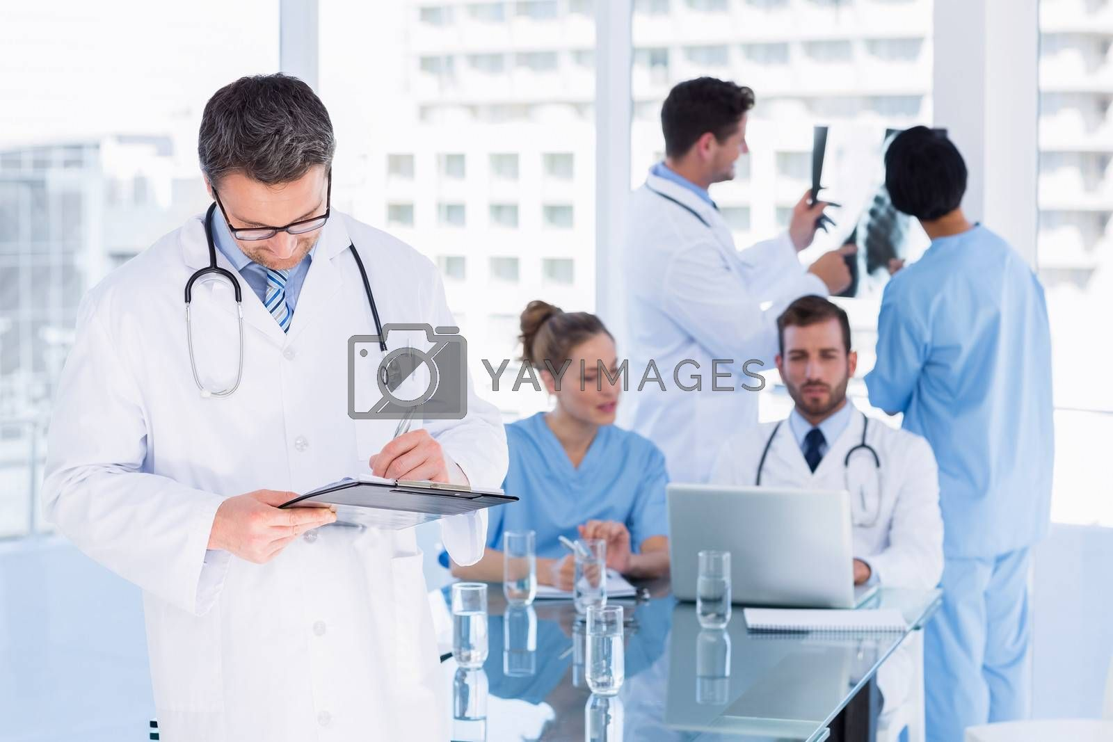 Concentrated doctors at work in the medical office