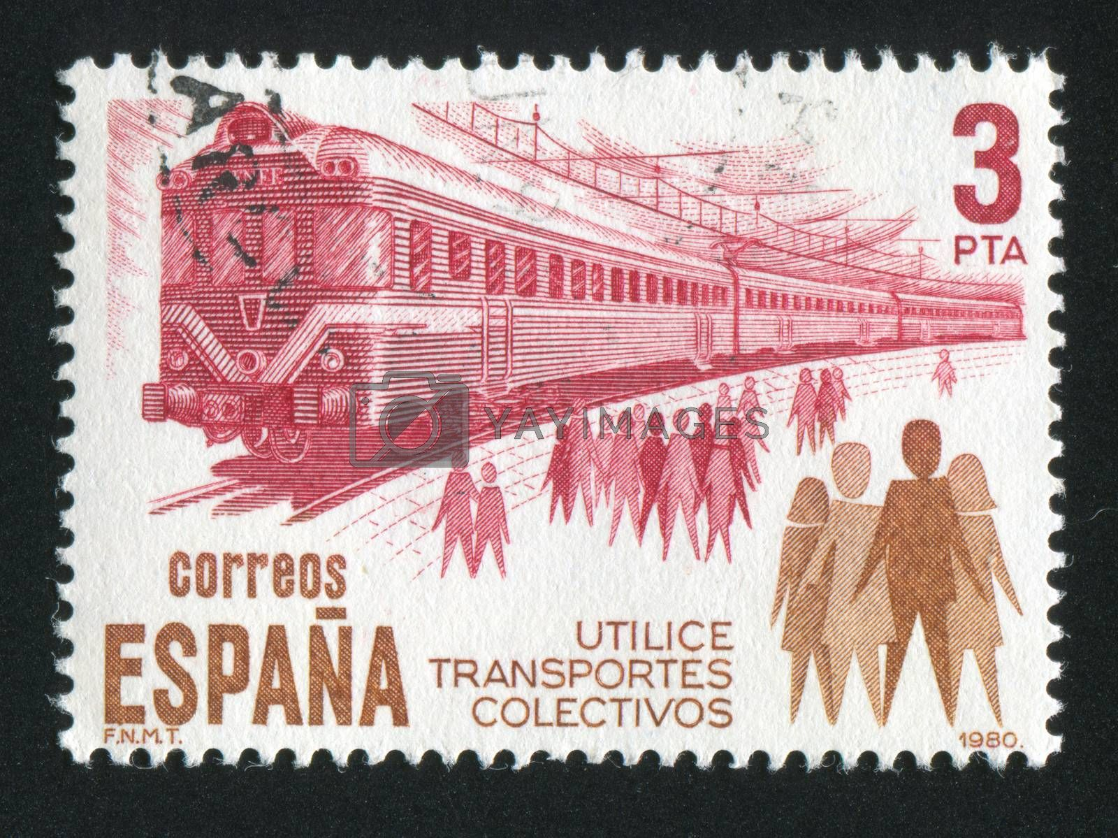 SPAIN - CIRCA 1980: stamp printed by Spain, shows Train and People, circa 1980