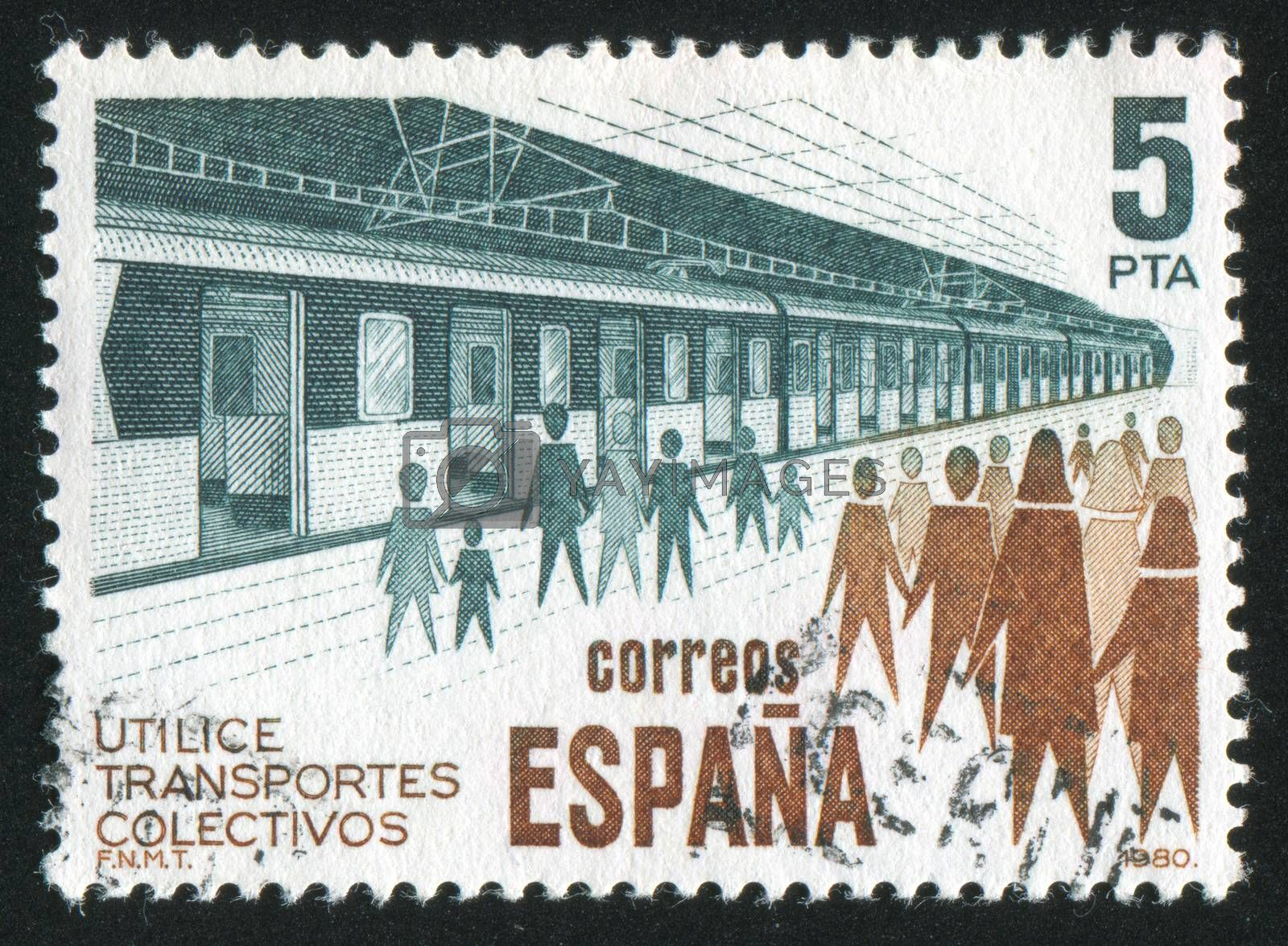 SPAIN - CIRCA 1980: stamp printed by Spain, shows Subway and People, circa 1980