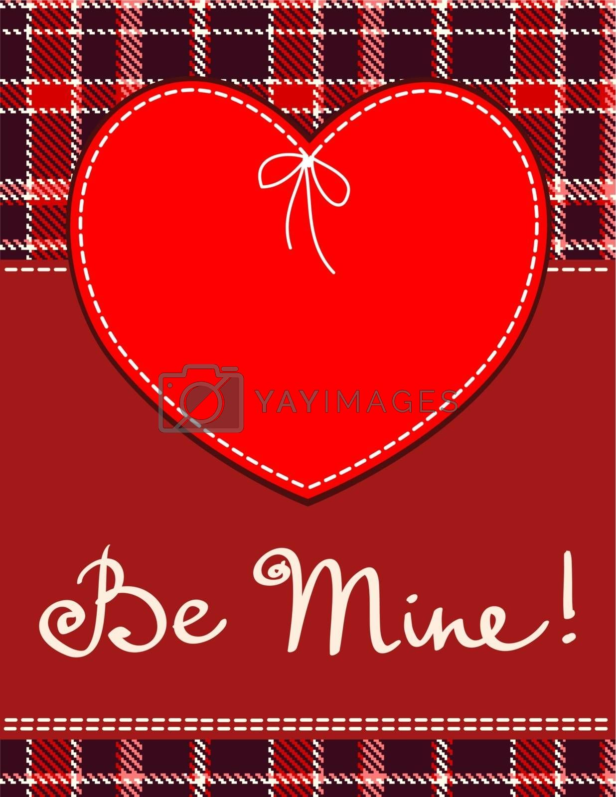 Heart in stitched textile style. Vector red heart textile label with 'be mine' hand lettering