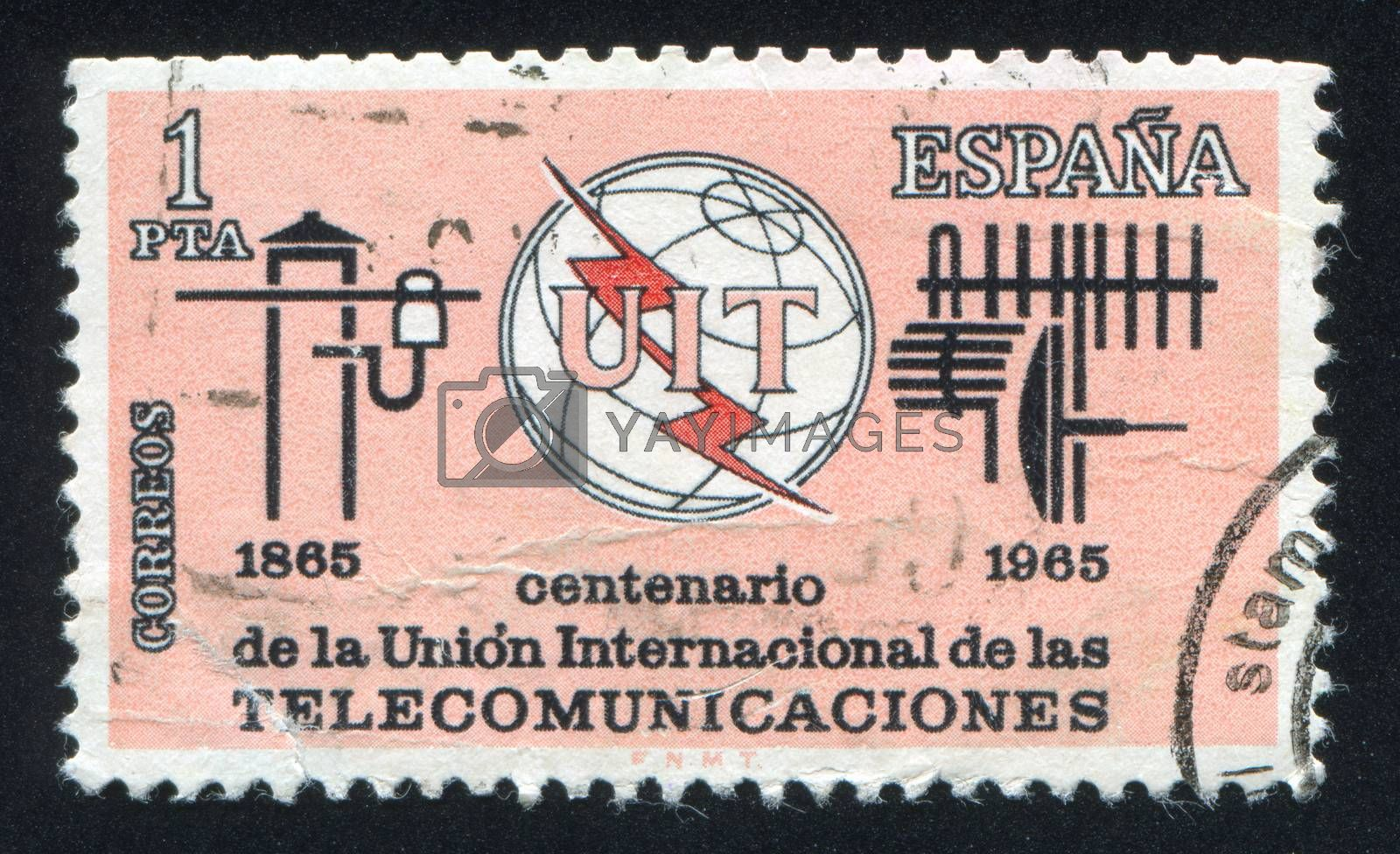SPAIN - CIRCA 1965: stamp printed by Spain, shows International Telecommunication Union Emblem, Old and New Communication Equipment, circa 1965