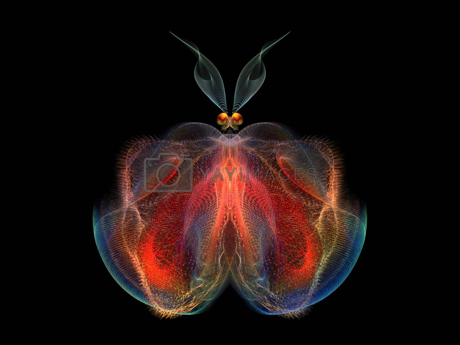 Butterflies of Never series. Abstract design made of fractal organic textures on the subject of science, biology,  design, creativity and imagination