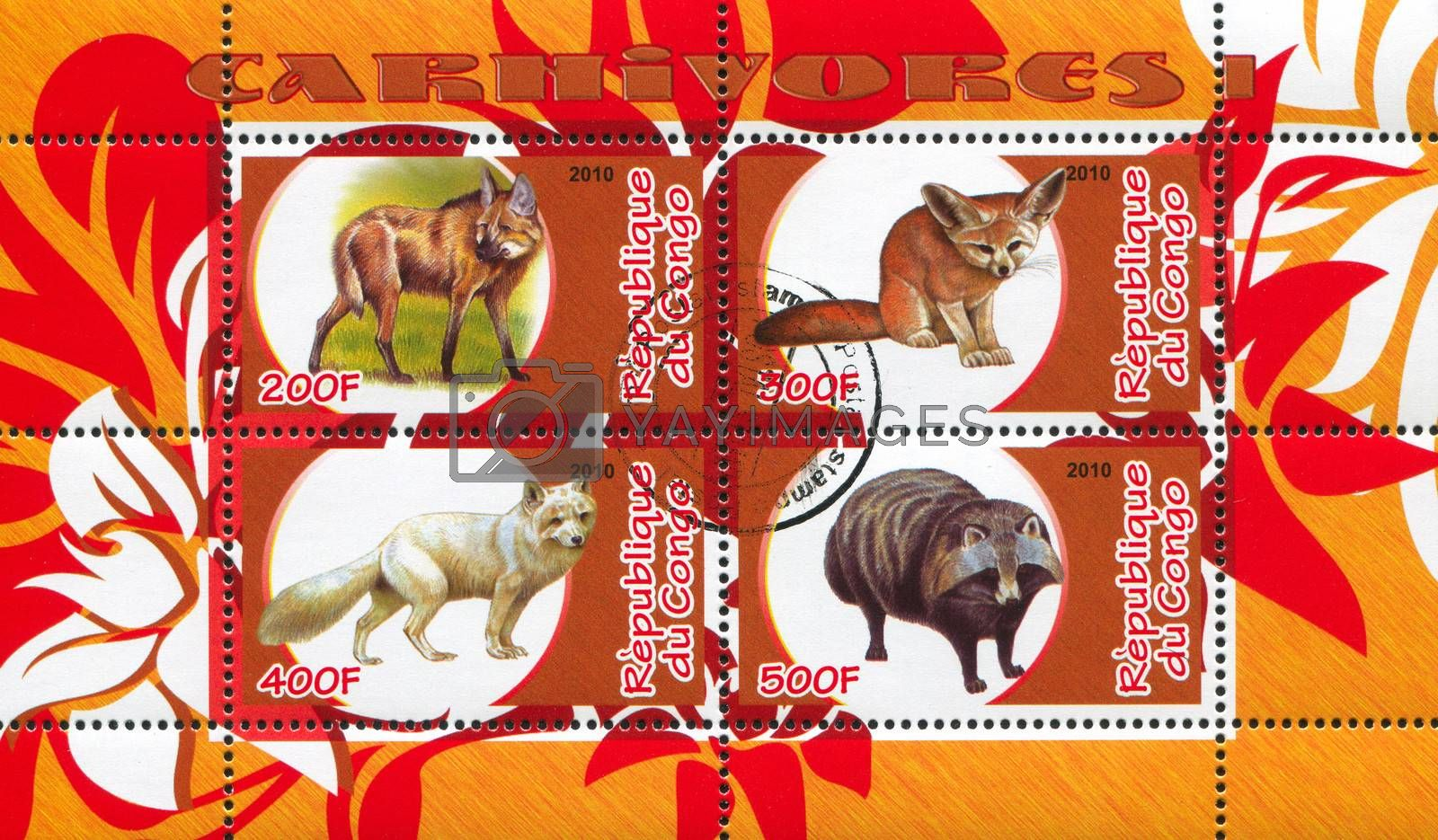 CONGO - CIRCA 2010: stamp printed by Congo, shows animals, circa 2010