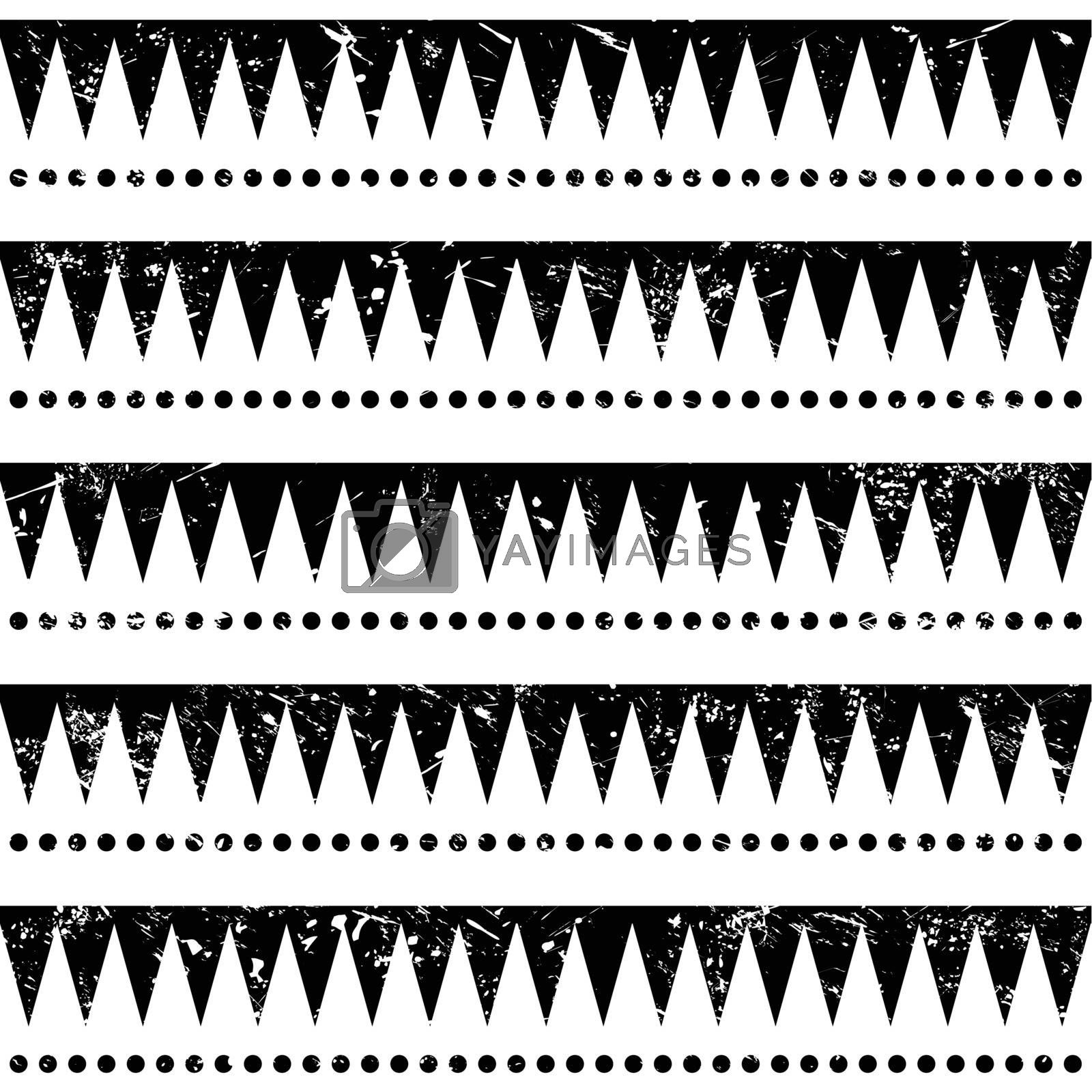 Vector seamless aztec ornament, vintage ethnic pattern in black and white