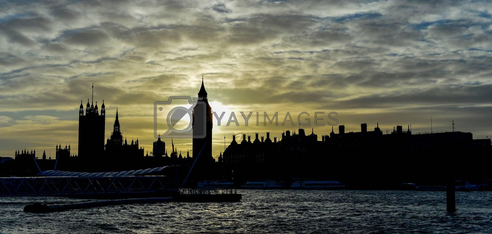 Sunset view of famous Big Ben, cloudy sky