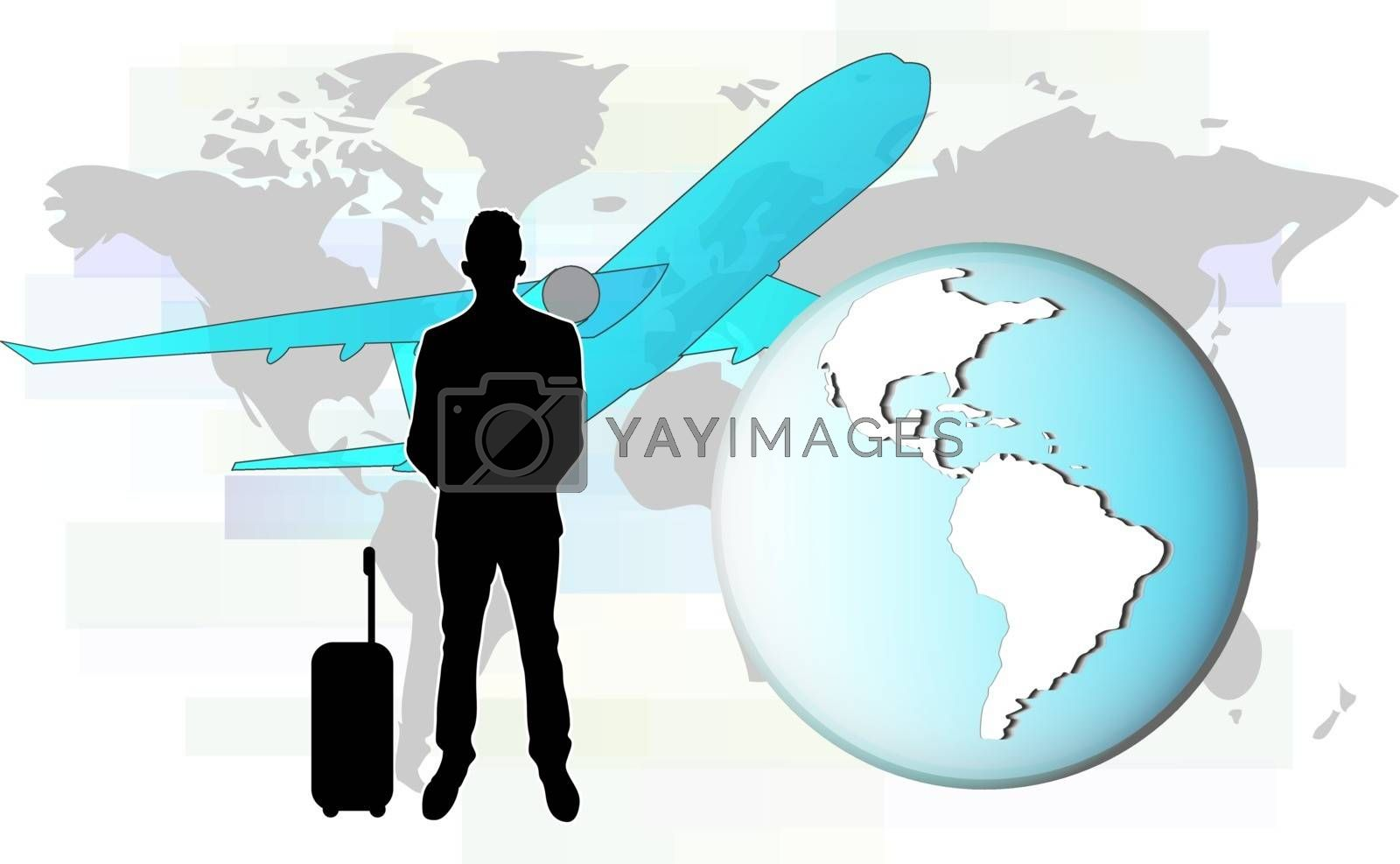 Illustration of business man travelling by plane.  Elements of this image are furnished by NASA
