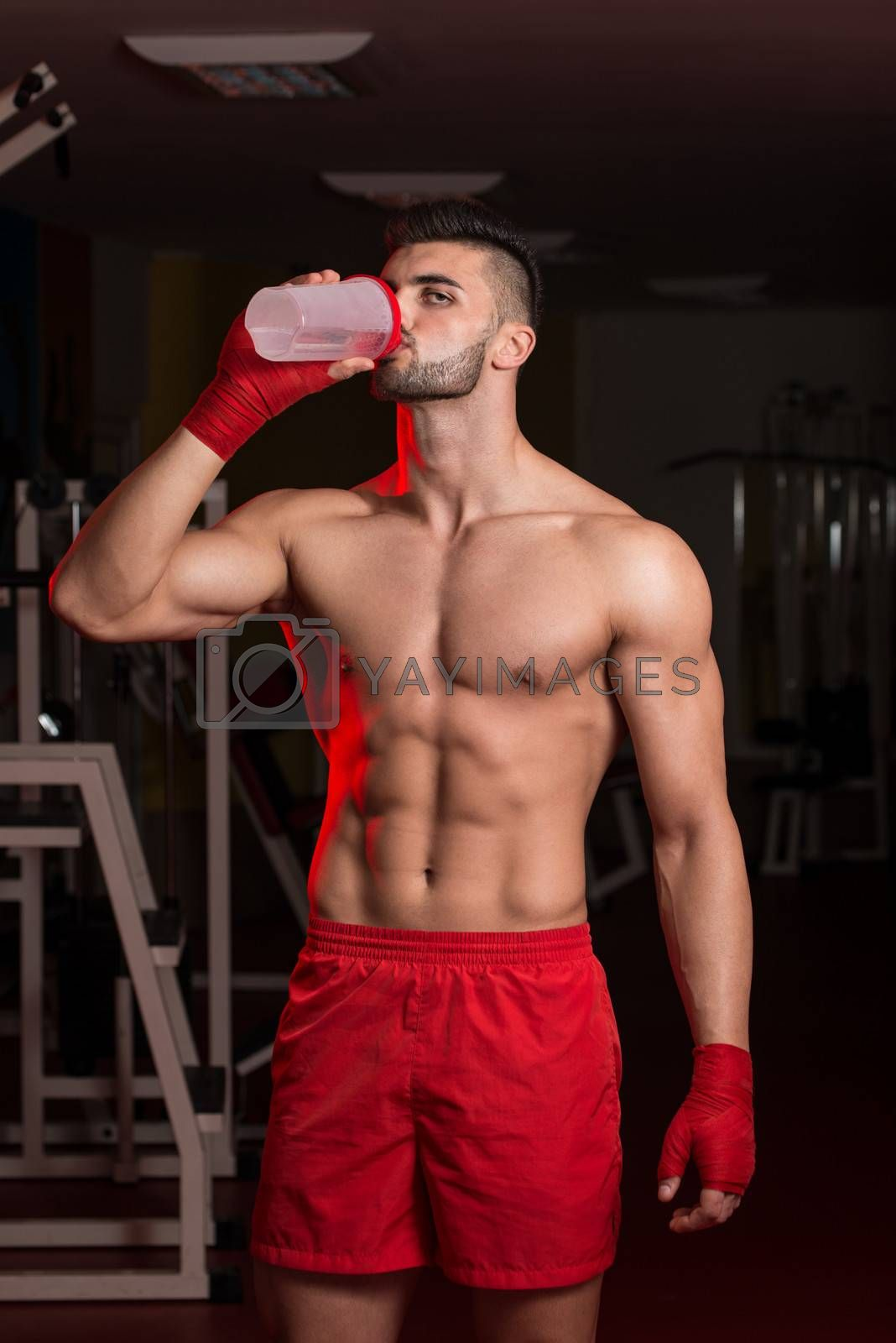 MMA Fighter With Protein Shaker