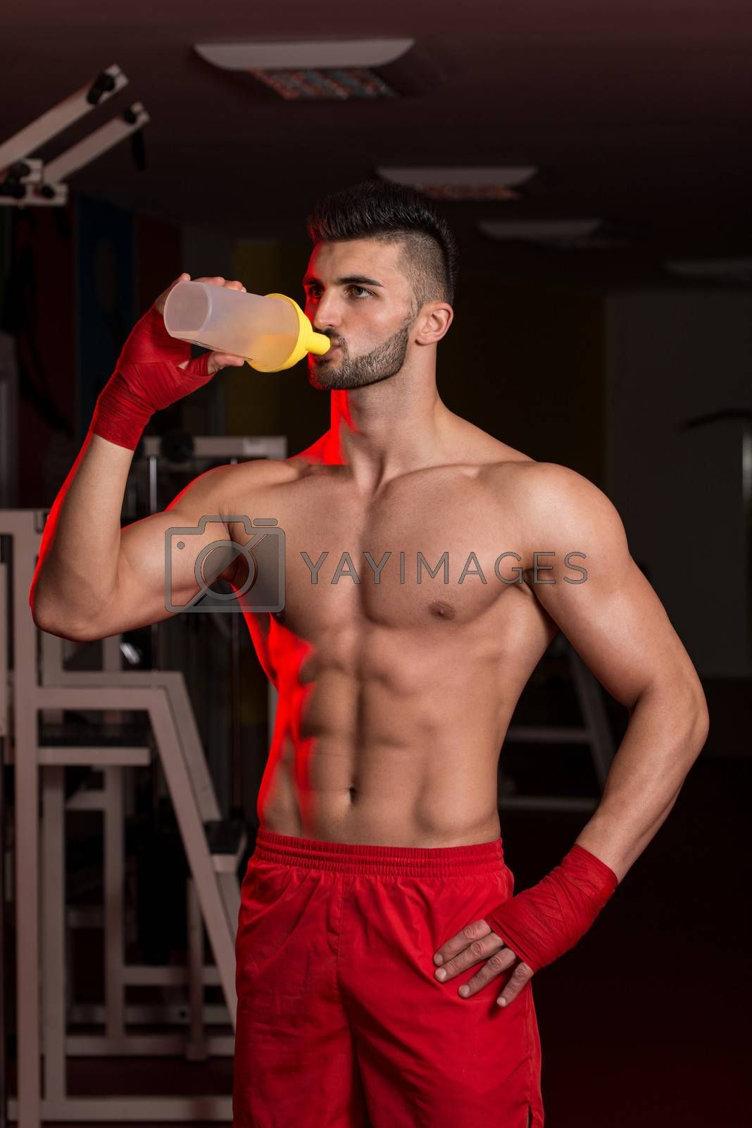 Muscular Men Drinking Water From Shaker