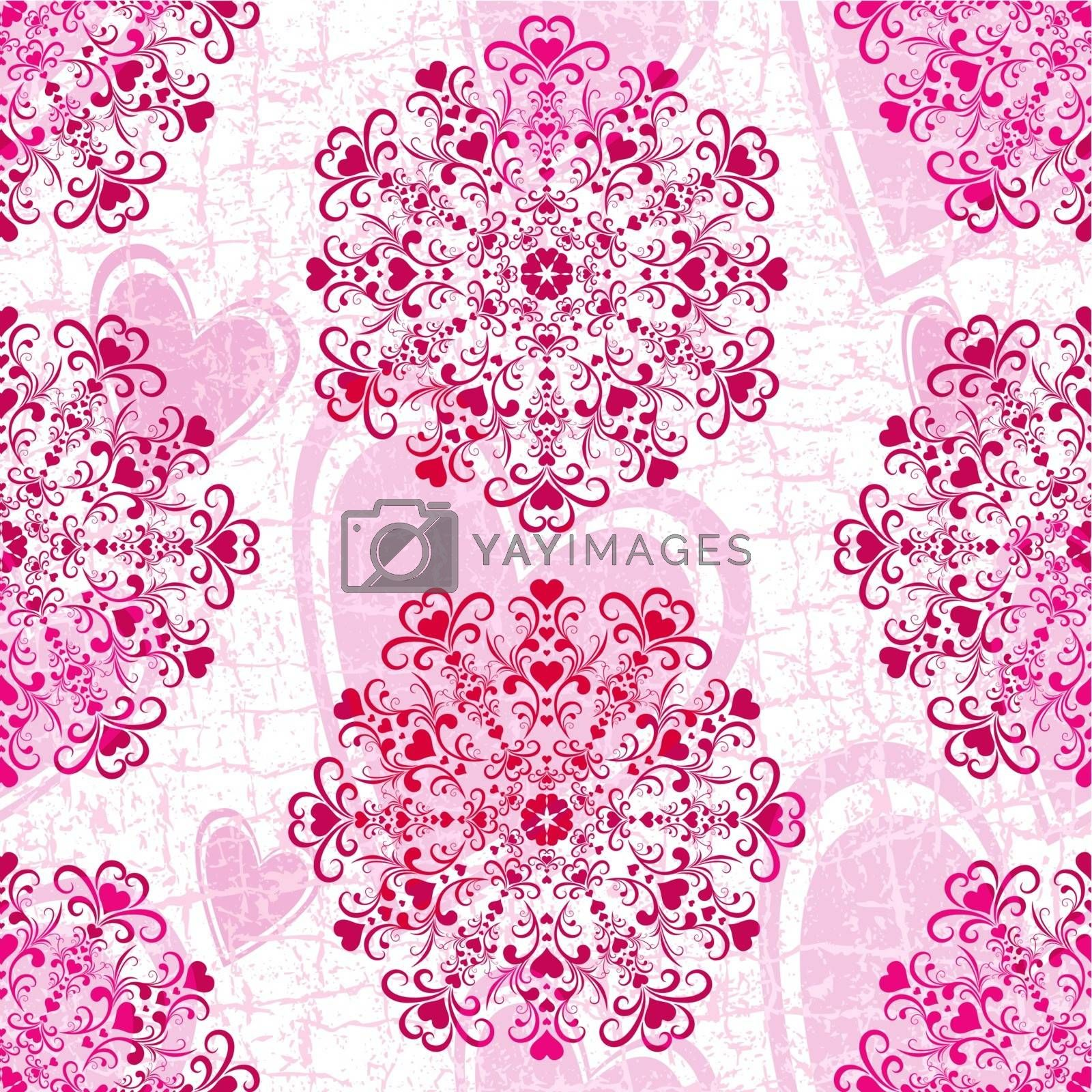 Pink seamless grunge valentine pattern with floral ornament and hearts (vector eps 10)
