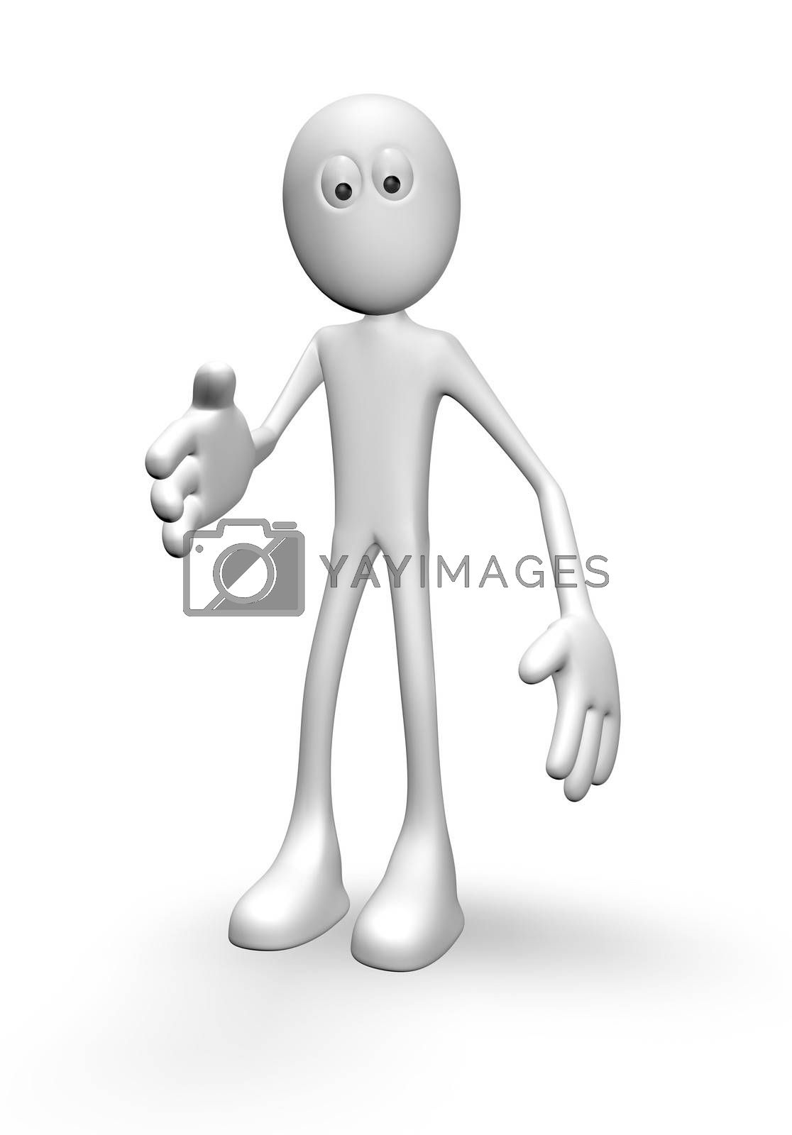 cartoon guy says hello - 3d illustration