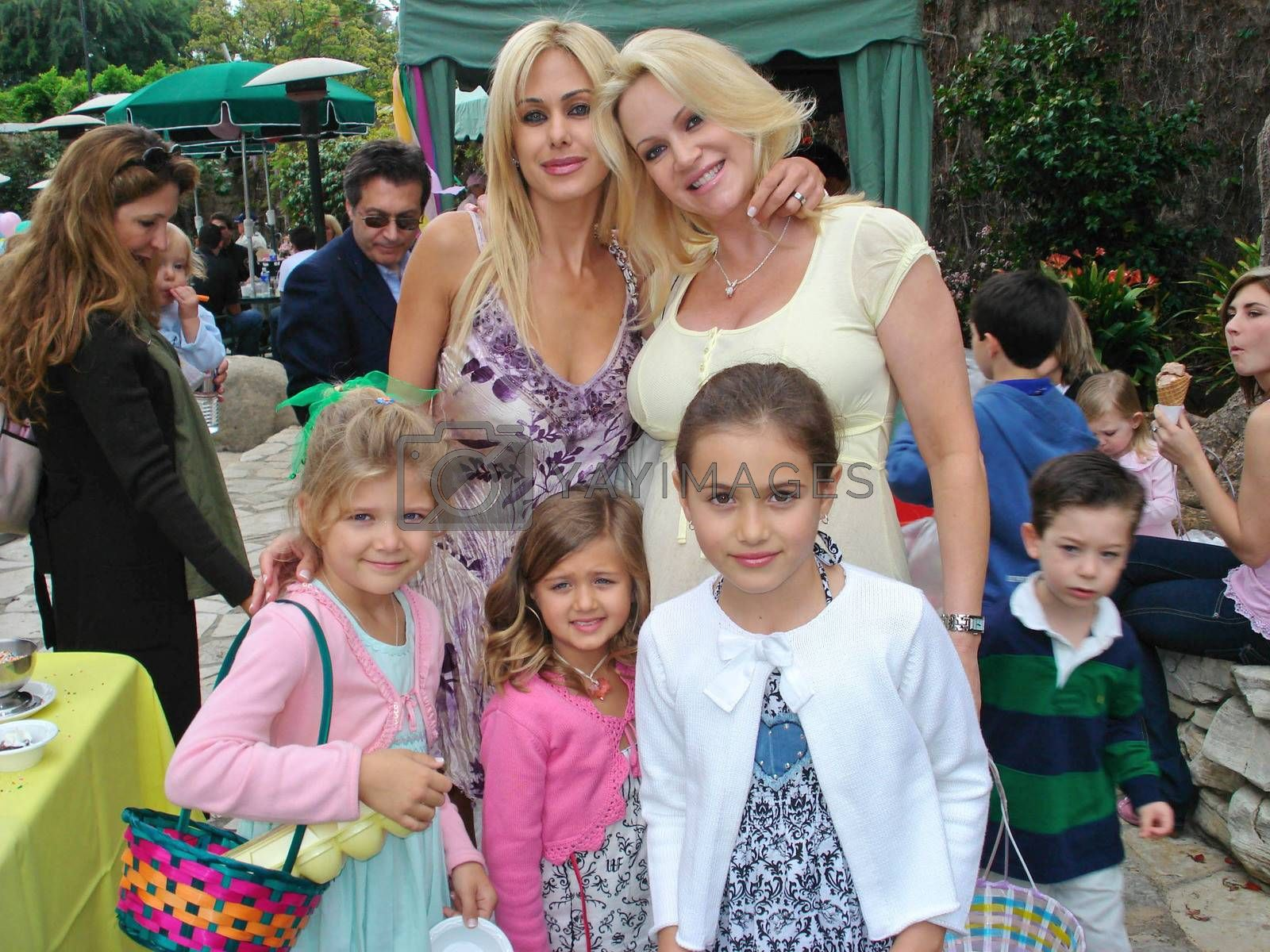 Shauna Sand and children with Barbara Moore at the Playboy Mansion Easter Egg Hunt. Playboy Mansion, Los Angeles, CA. 04-07-07