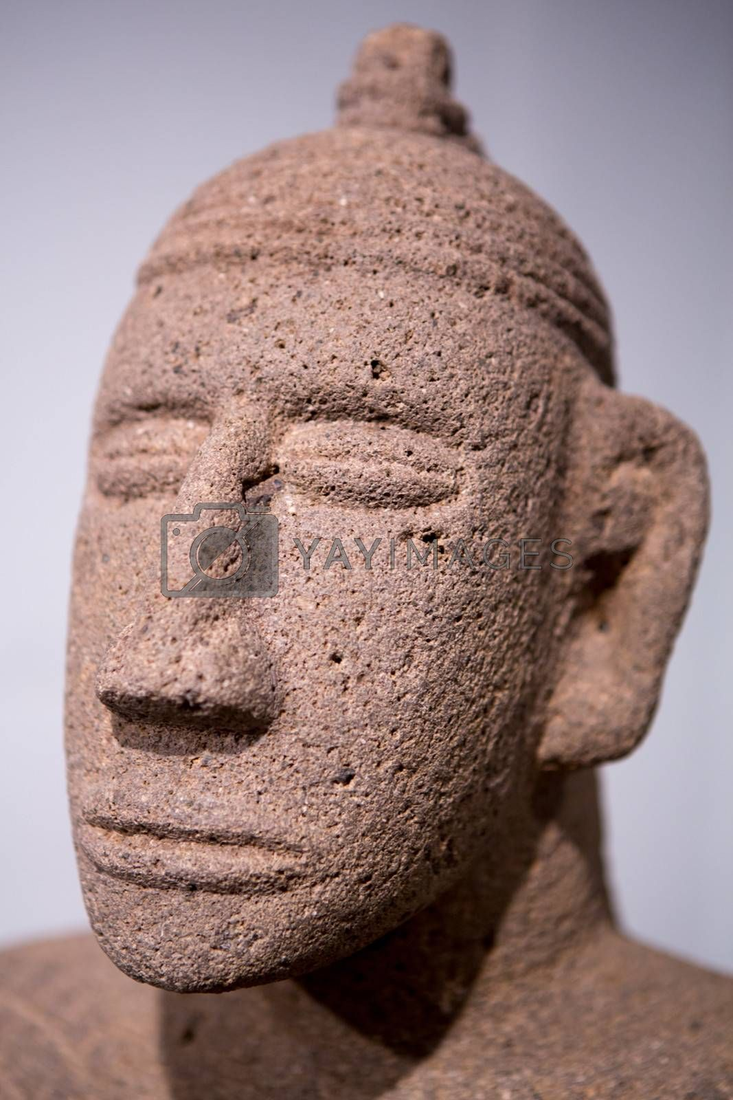 Detail of the head of a Mayan sculpture found in Costa Rica. Ancient Maya art refers to the material arts of the Maya civilization, an eastern and south-eastern Mesoamerican culture that took shape in the course of the later Preclassic period (500 BC to 200 AD).