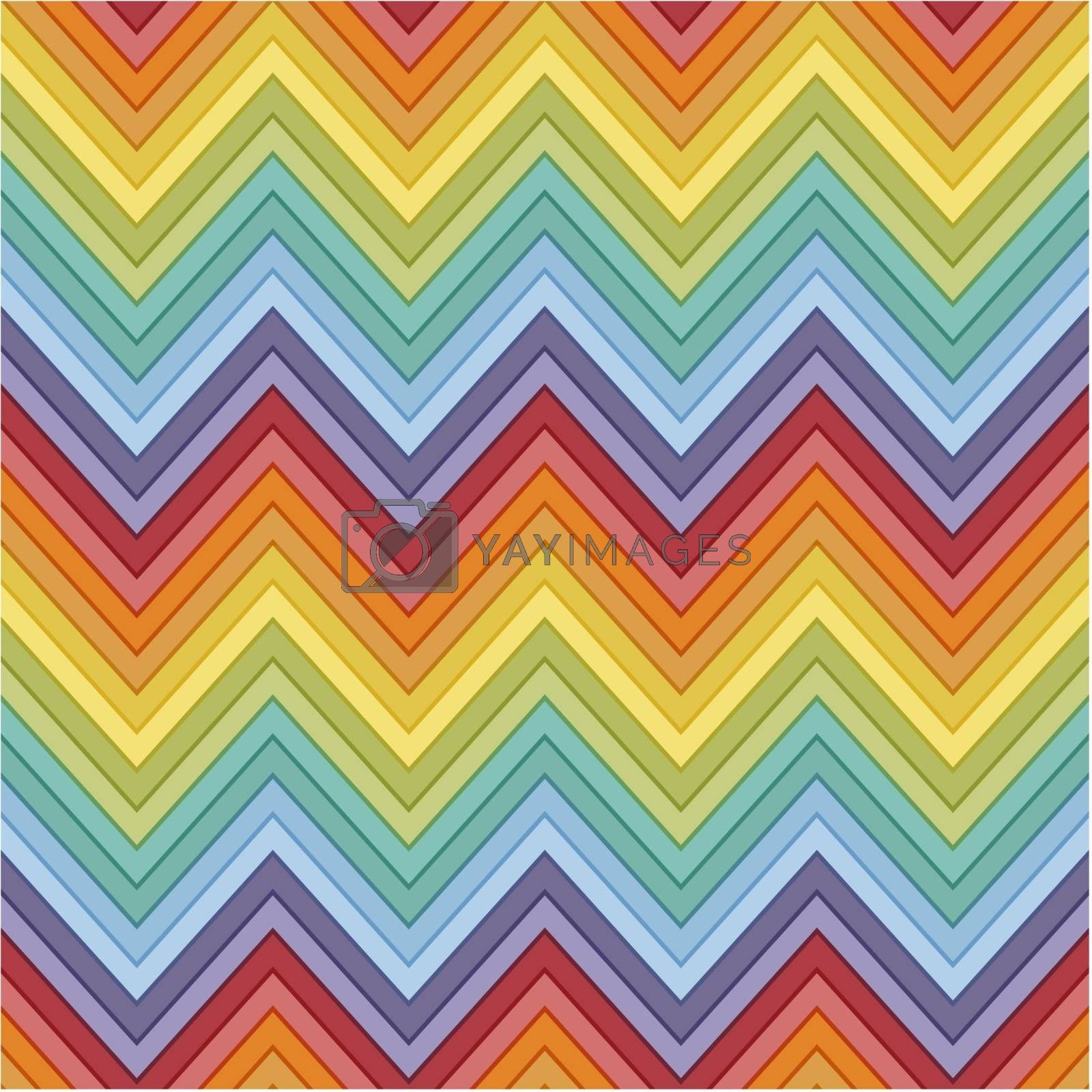 seamless retro rainbow colors horizontal fashion chevron pattern