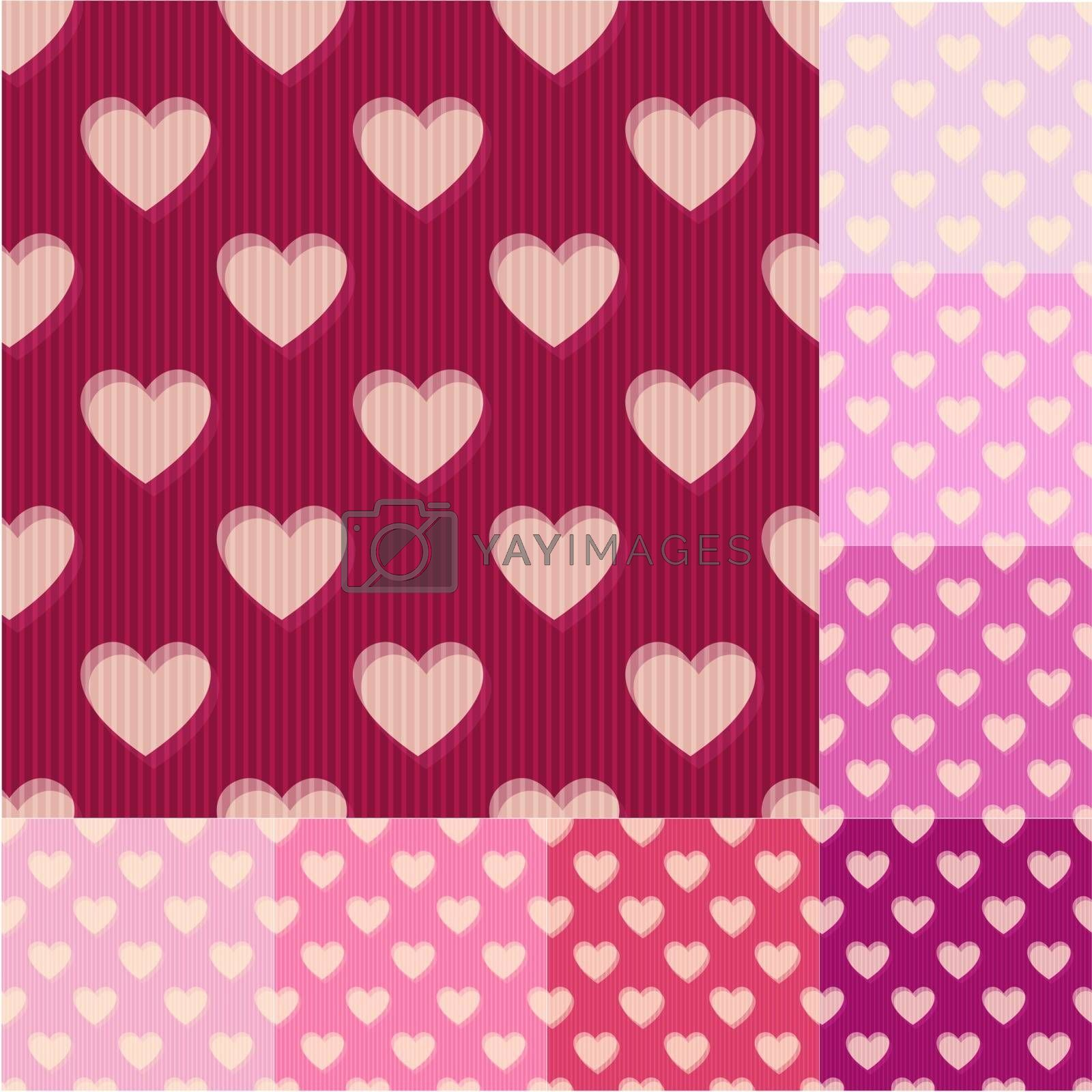 seamless red, pink heart background pattern
