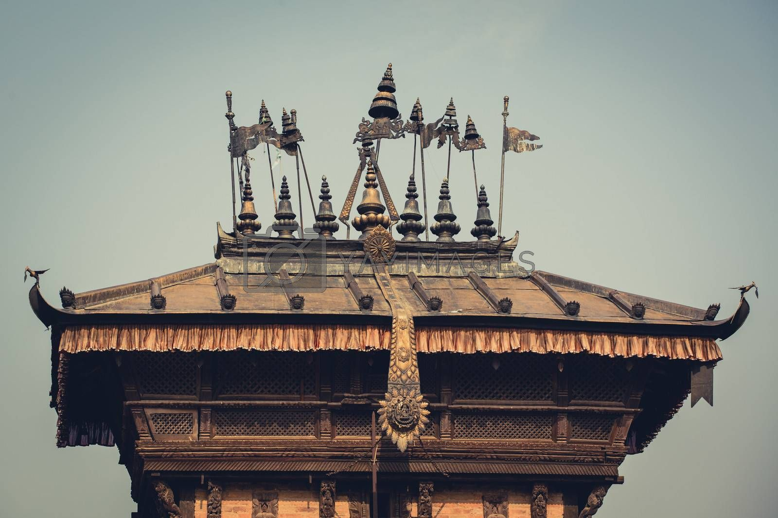 Roof of an ancient temple, Bhaktapur, Nepal