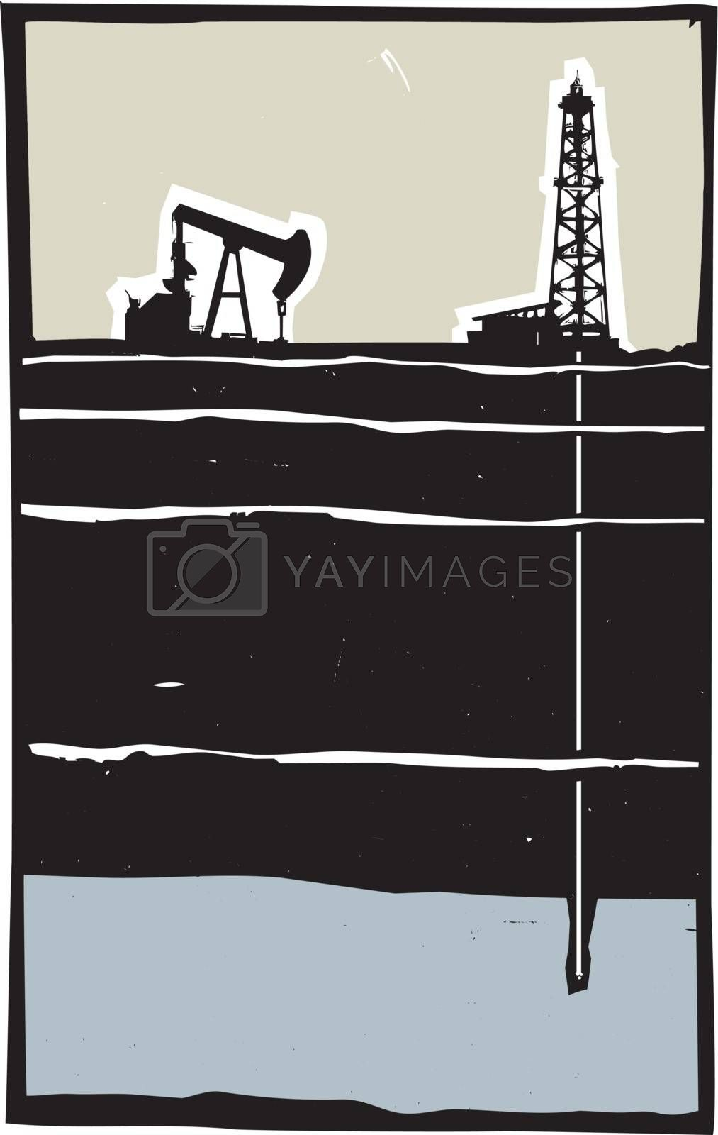 Drill and Pump jack drilling in the ground down to an aquifer.