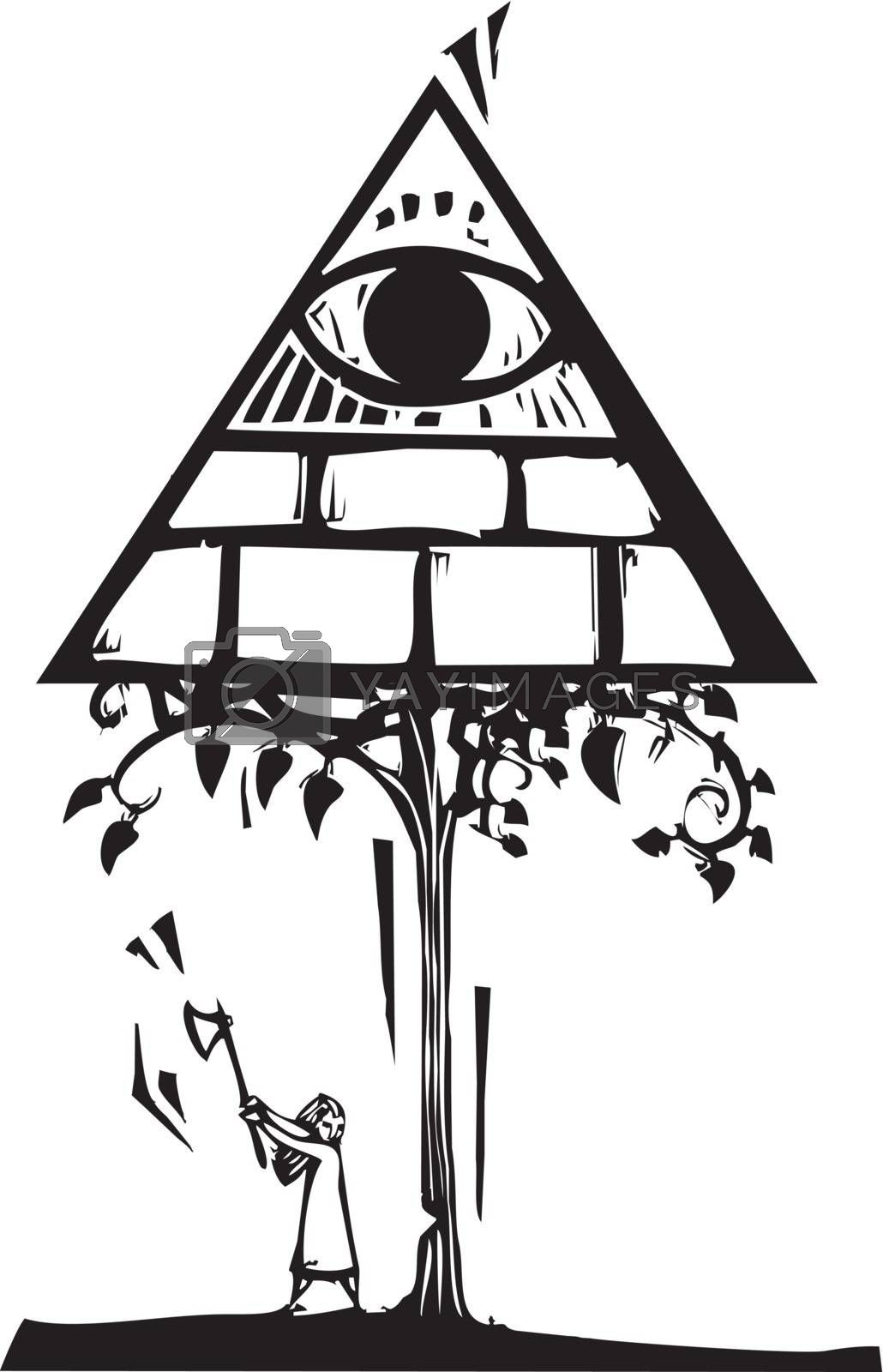 Woodcut style image of a girl chopping down a tree with the Masonic Pyramid.