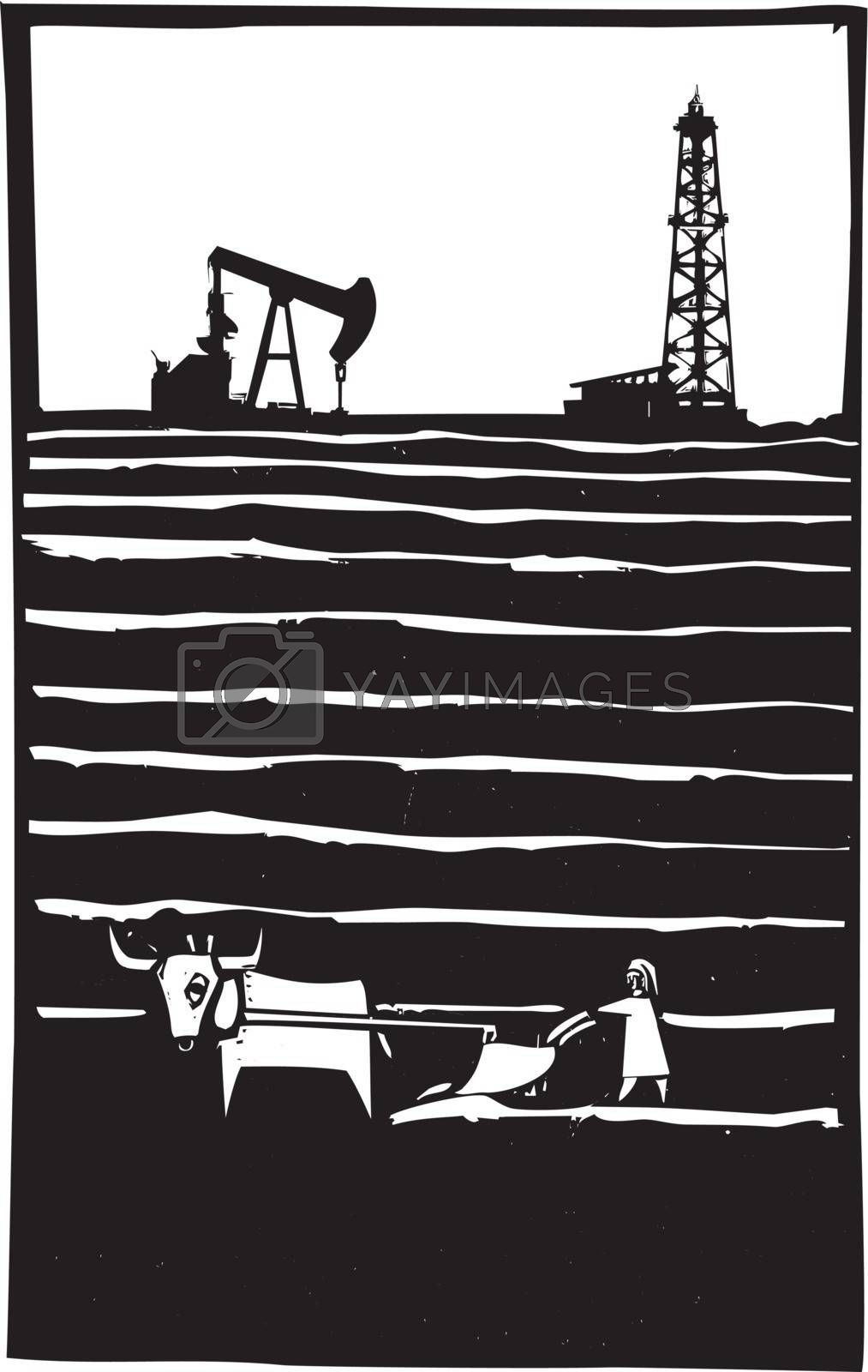 Woodcut style image of an oil well by a primitive impoverished farm.