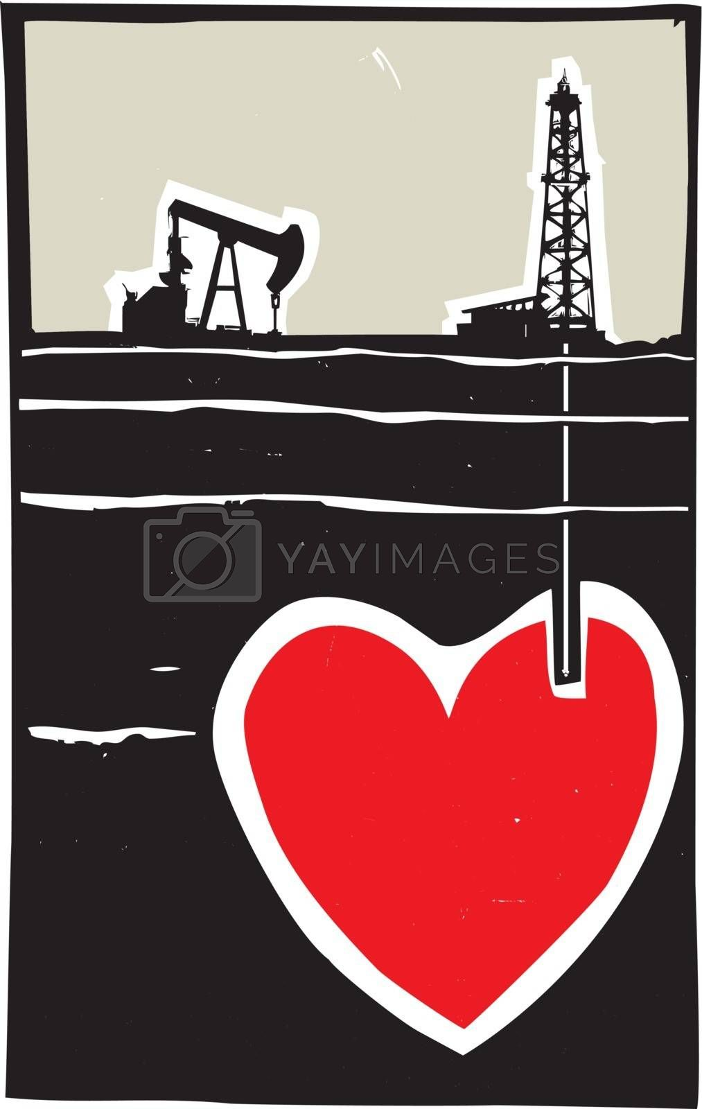 Woodcut style image Oil well drilling down into the earth and into a Heart.