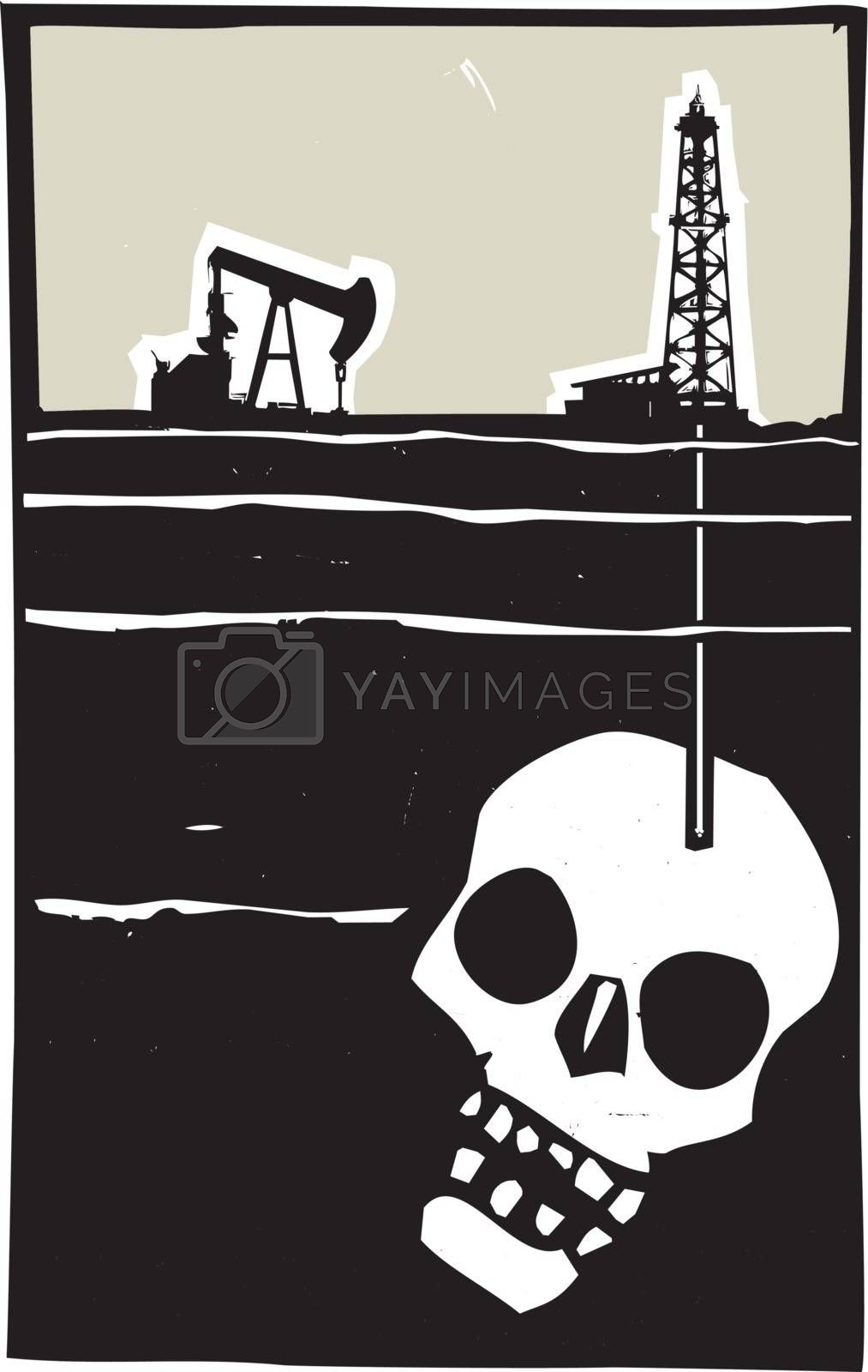 Woodcut style image Oil well drilling down into the earth and into a human skull.