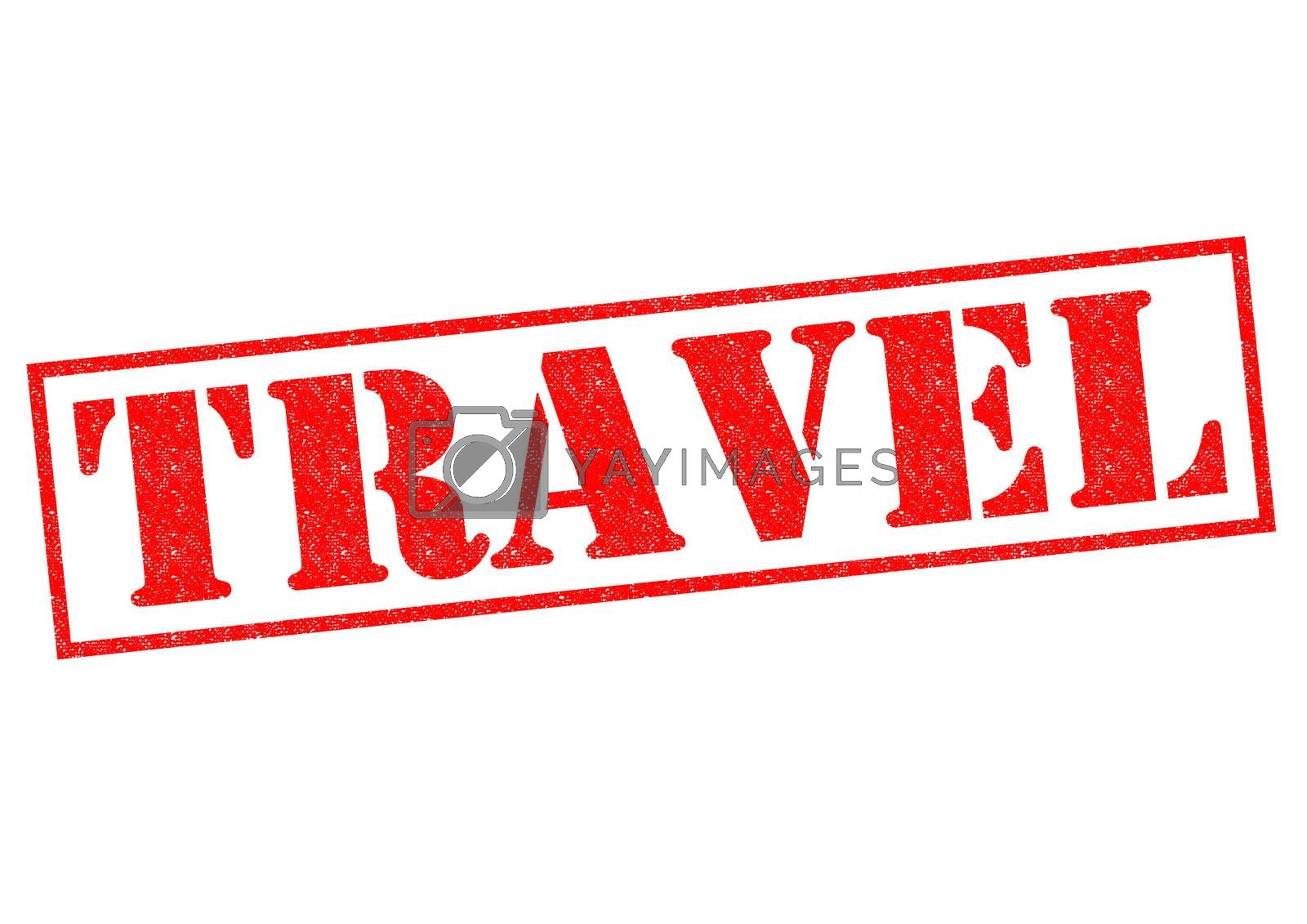 TRAVEL red Rubber Stamp over a white background.
