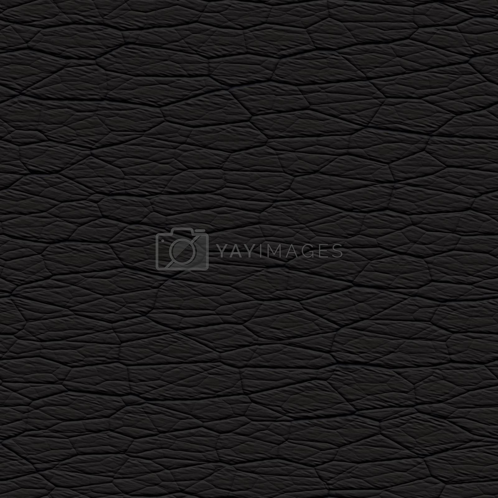 Seamless wrinkled black leather textured material that works as a pattern in any direction.