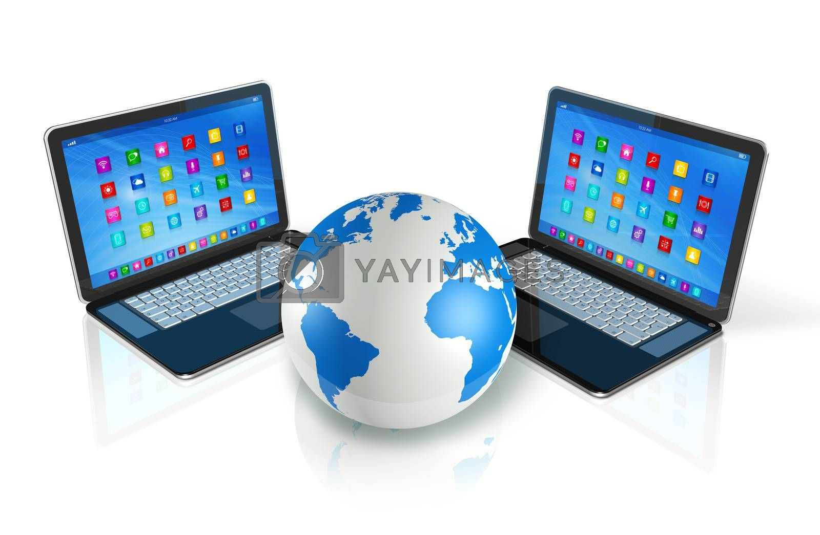 3D Laptop Computers around World Globe - apps icons interface - isolated on white