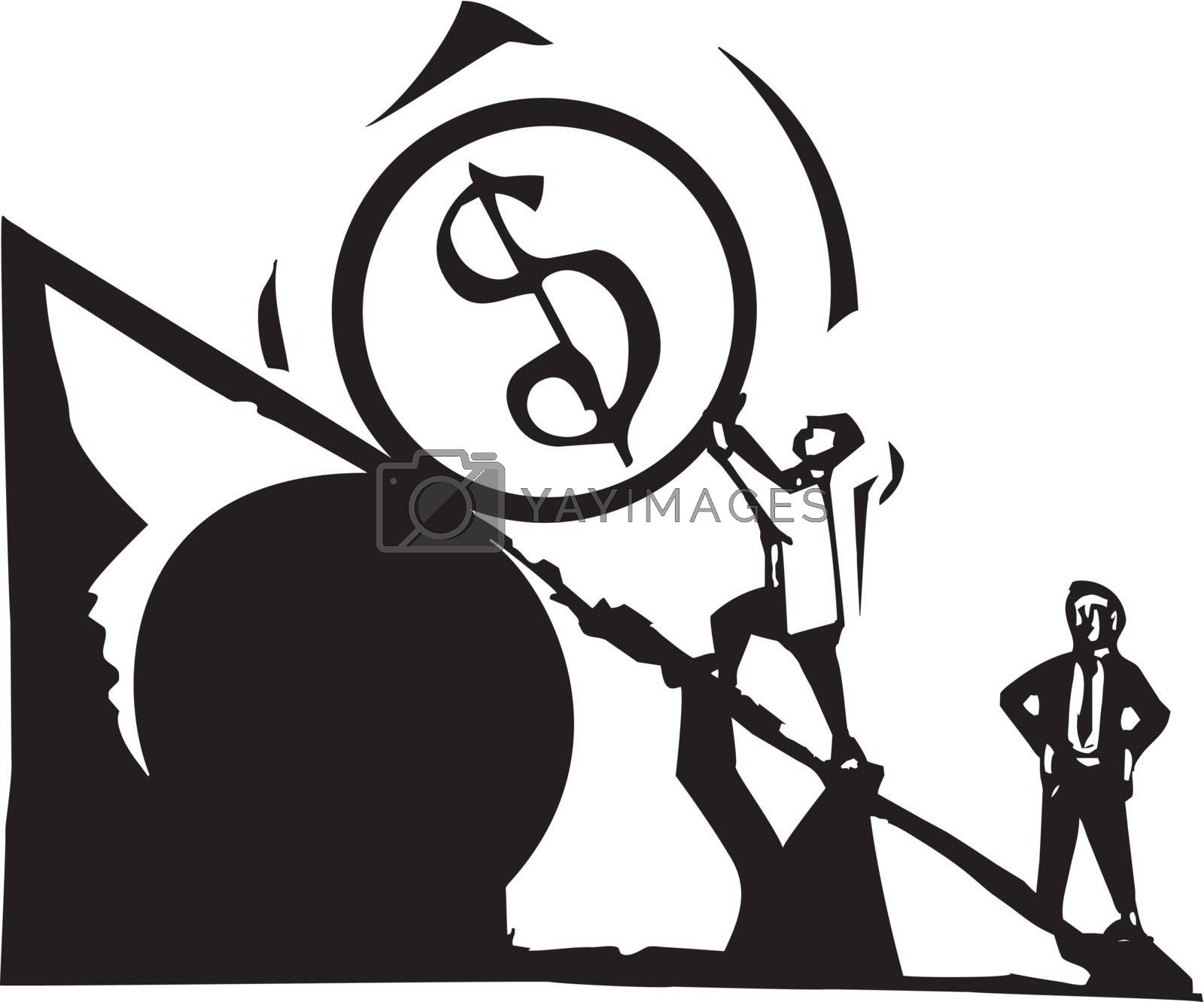 Woodcut style image of a man in business suit rolling a giant coin up a hill.