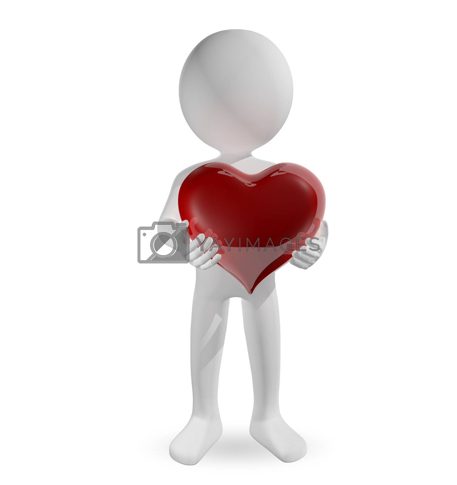 3d illustration of a man with a heart
