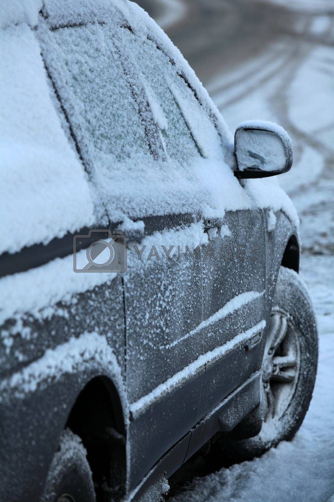 Snow and ice over the car