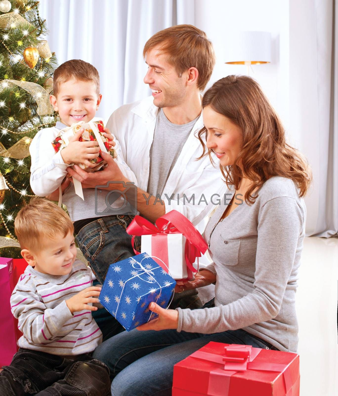 Christmas Big Family with Children near the Christmas Tree by Subbotina Anna