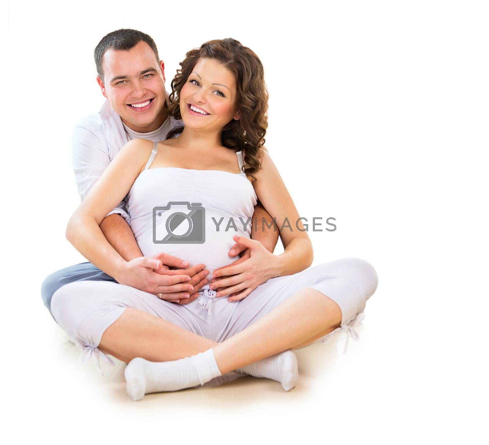 Happy Couple Expecting Baby. Isolated on White Background