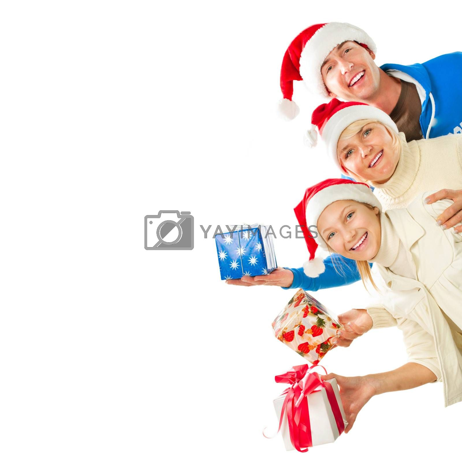 Happy Christmas Family with Gifts. Border Design