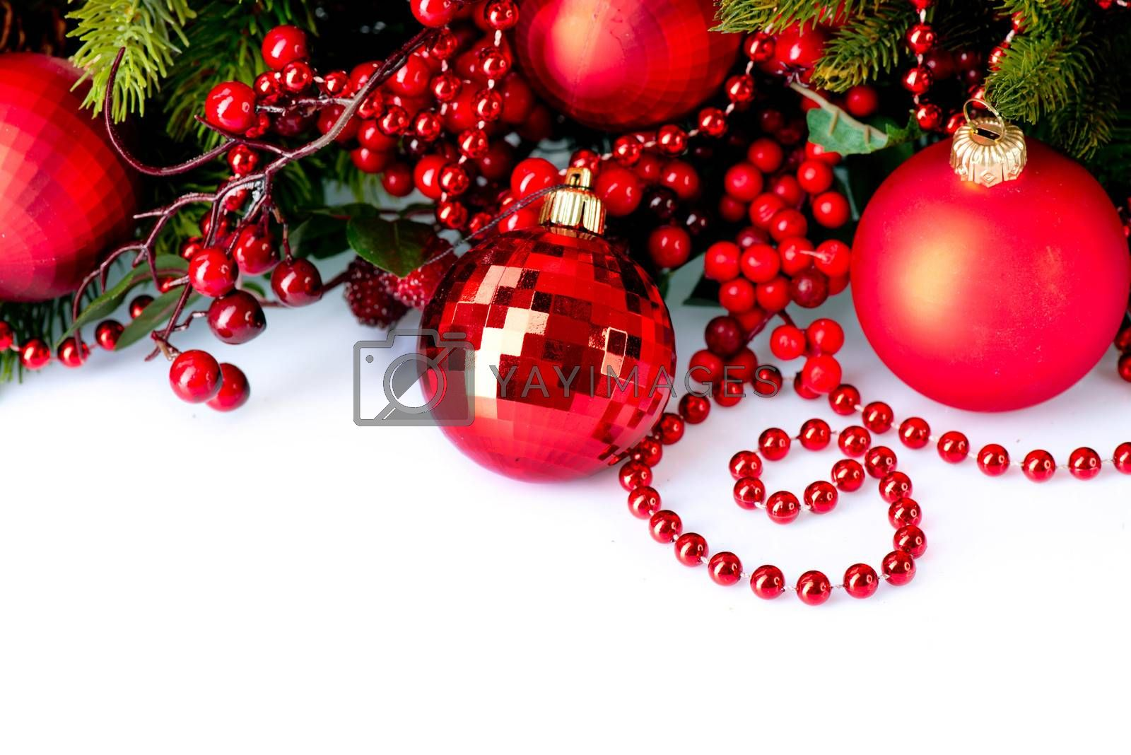 Christmas Baubles and Decorations isolated on White