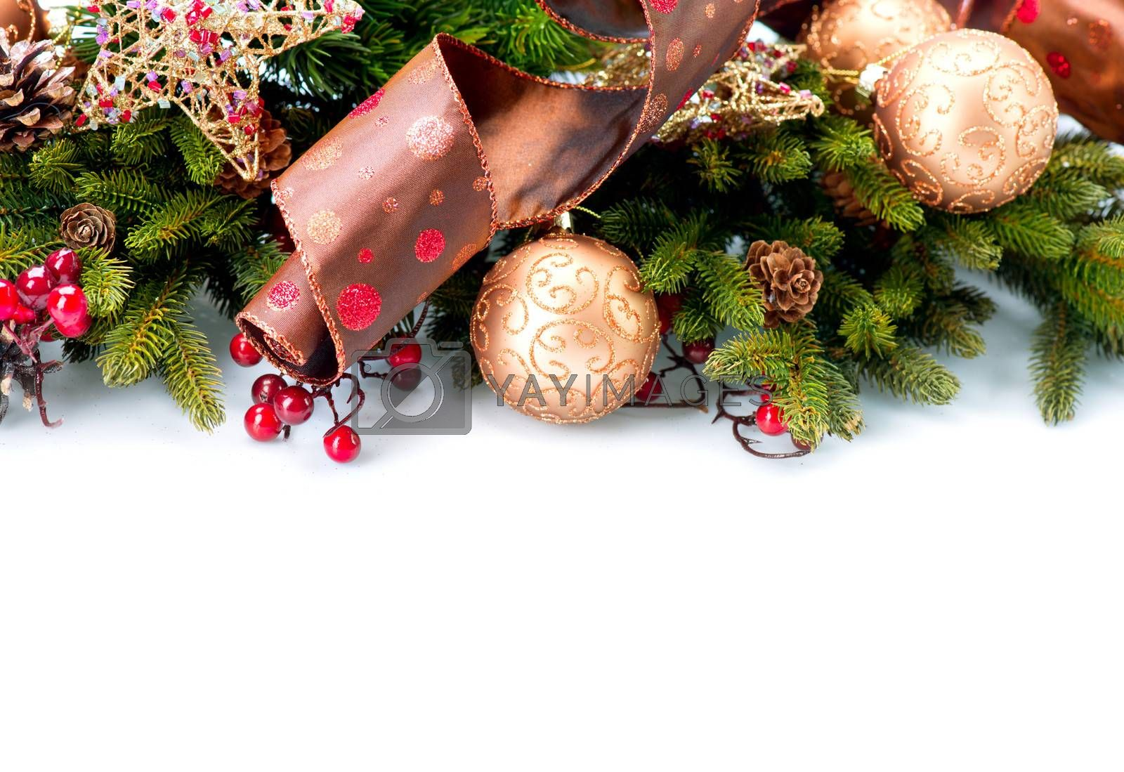 Christmas. New Year Decorations Isolated on White Background