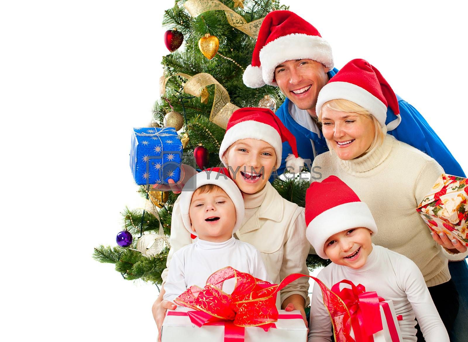 Christmas Family With Gifts near a Christmas Tree by SubbotinaA