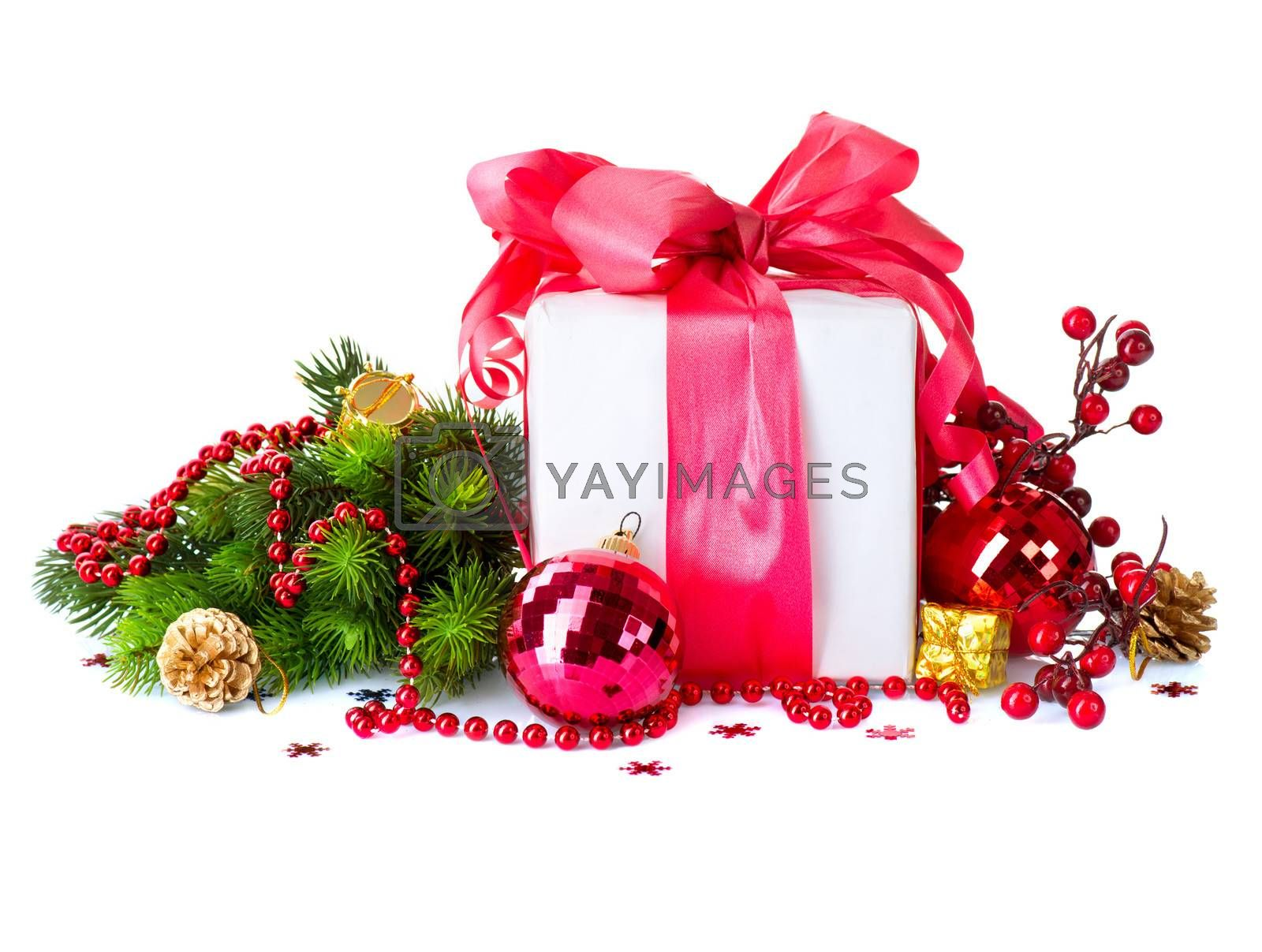 Christmas and New Year Gift Box and Decorations