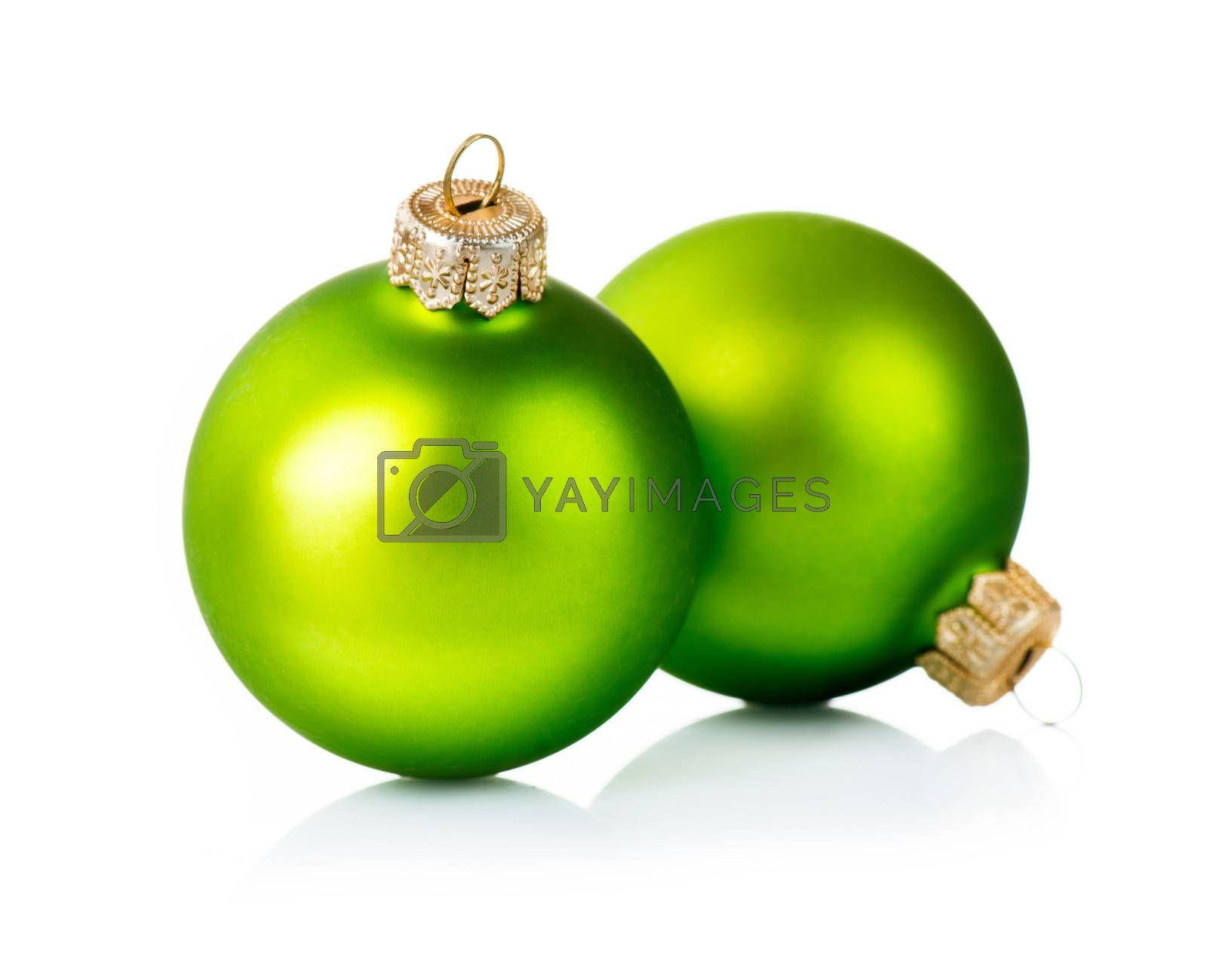 Christmas Green Decorations Isolated on White Background