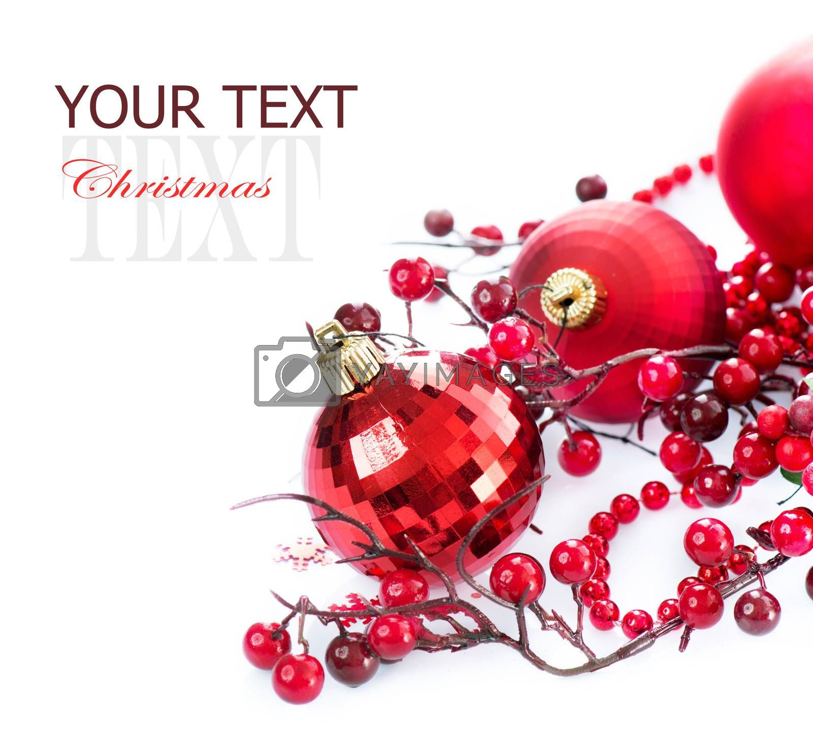 Christmas Baubles and Decoration isolated on White by SubbotinaA