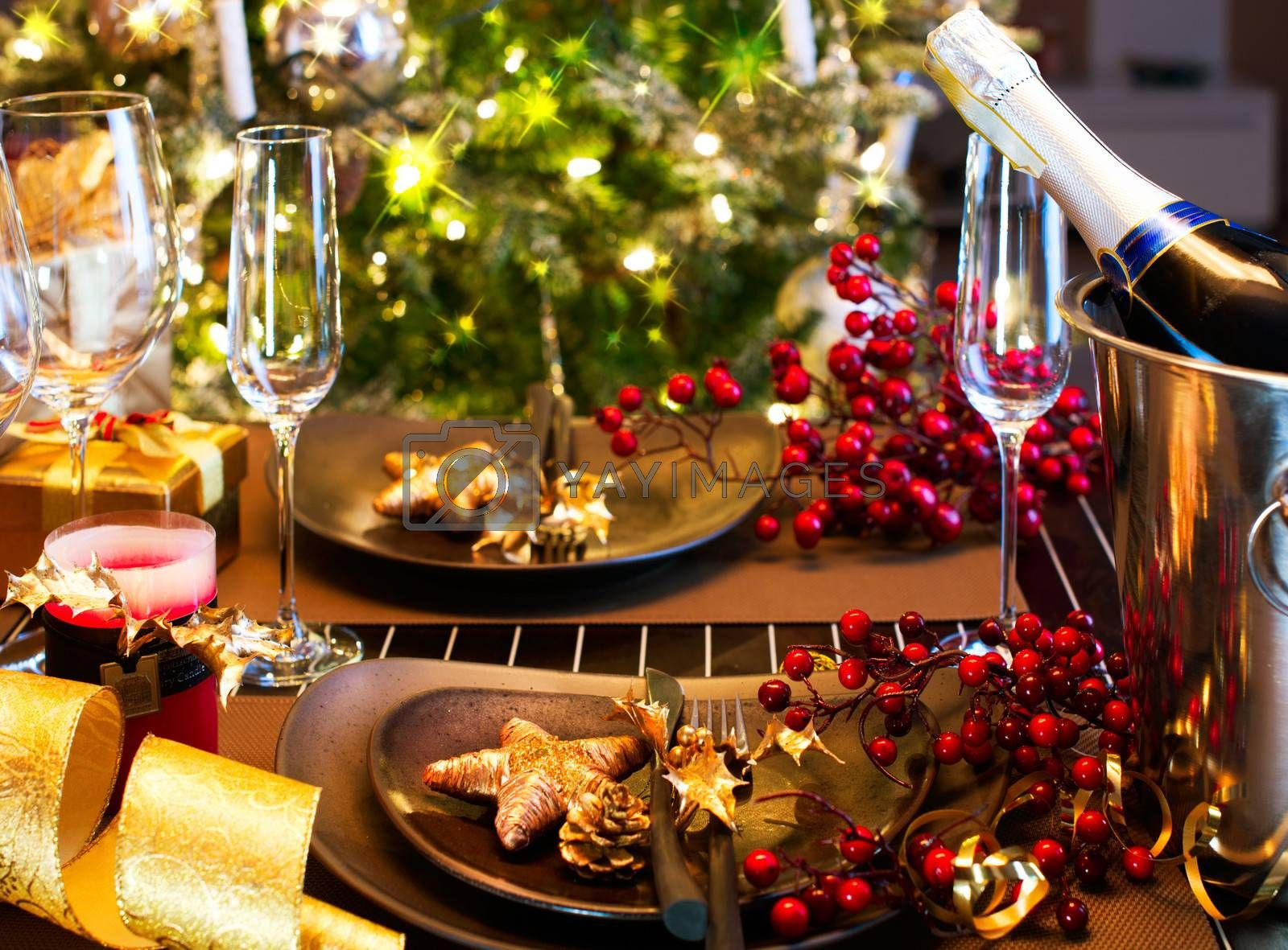 Christmas And New Year Holiday Table Setting. Celebration by SubbotinaA