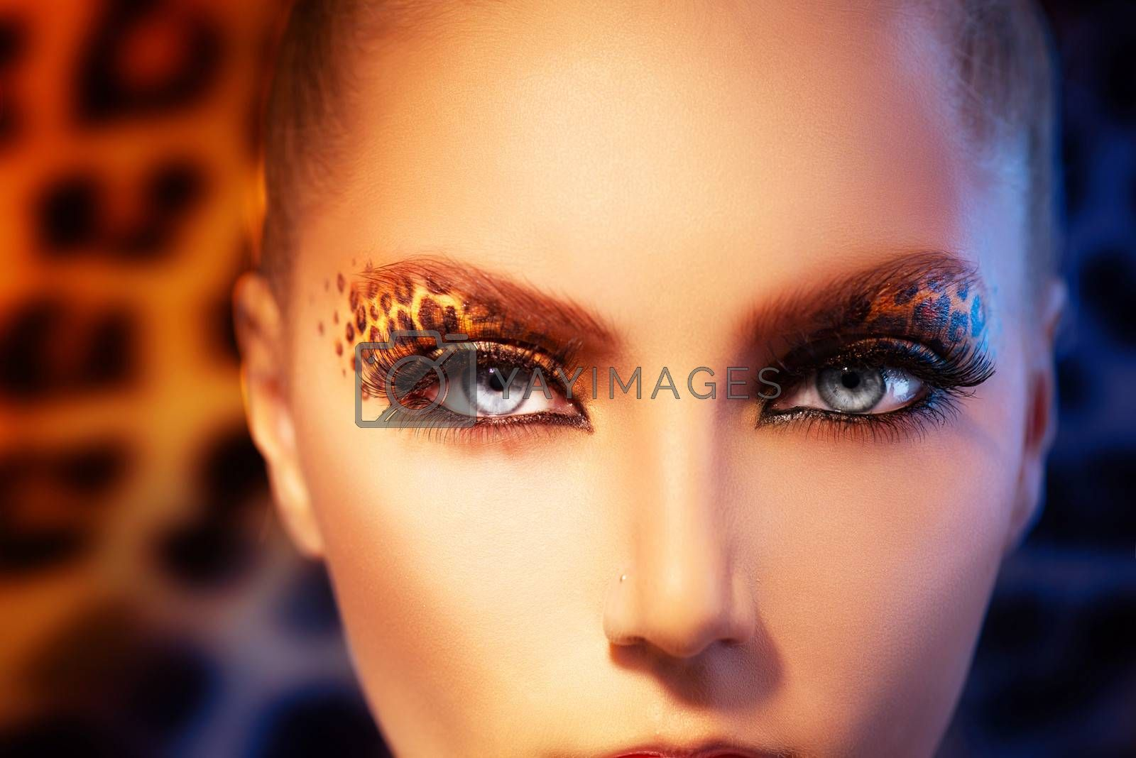 Beauty Fashion Model Girl with Holiday Leopard Makeup by SubbotinaA